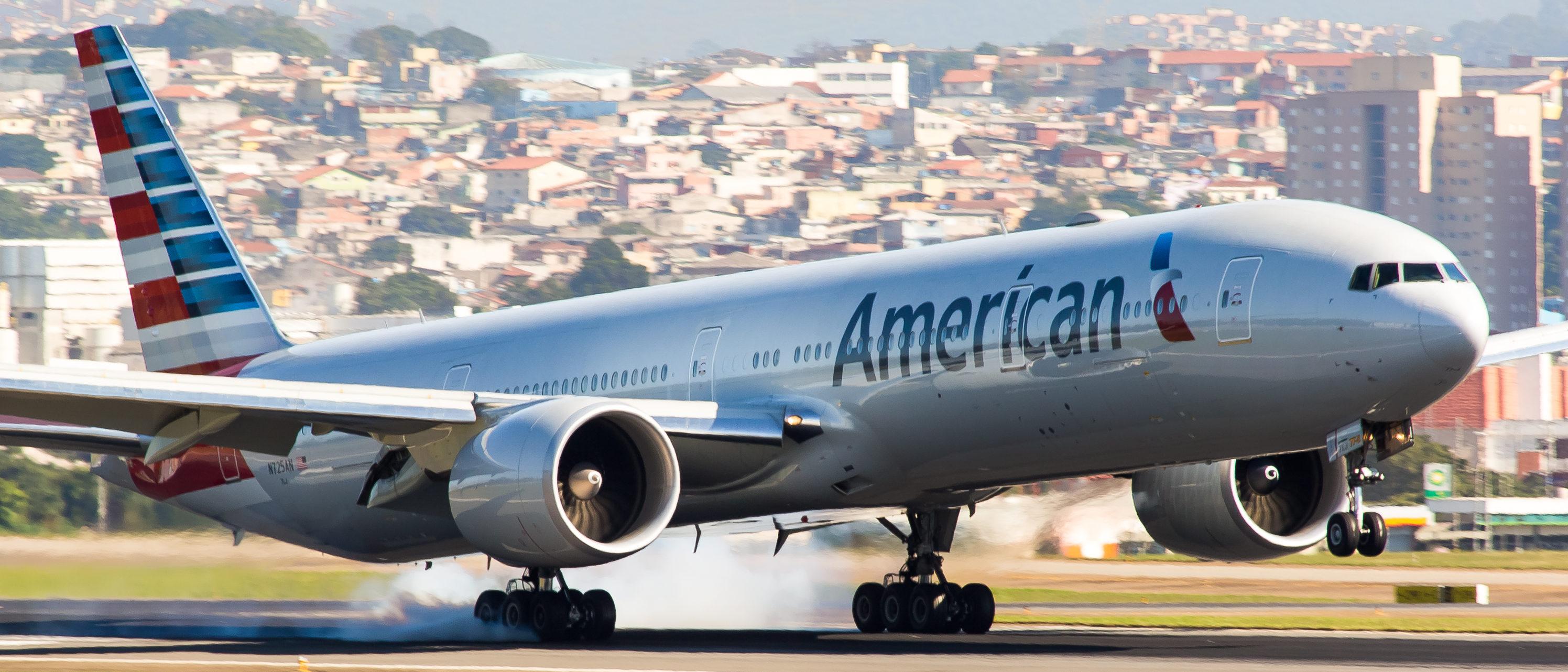 American Airlines 777 plane, Gru Airport (Shutterstock/Edu Perez)