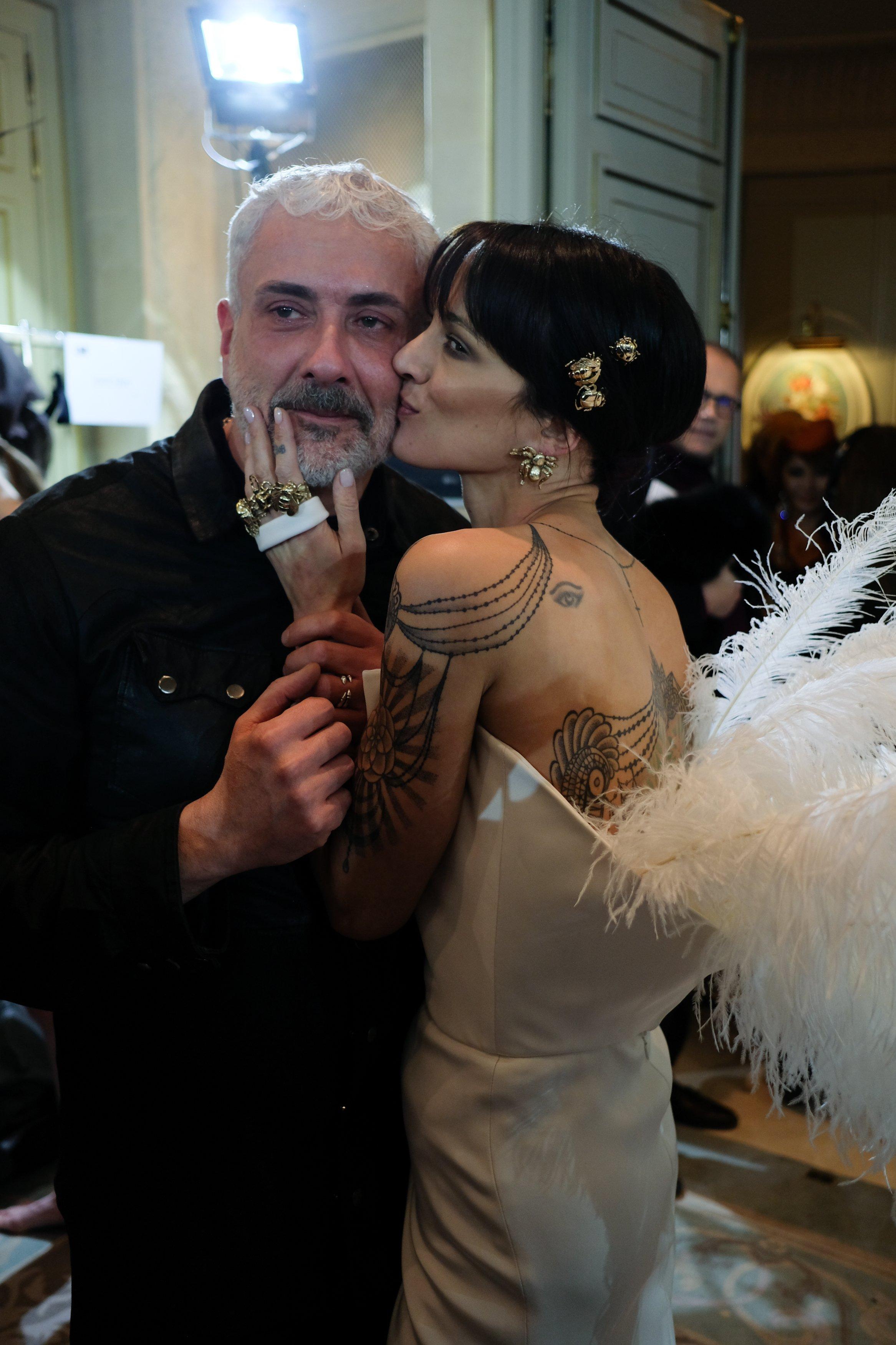 Asia Argento on catwalk for Antonio Grimaldi during Paris Fashion Week Picture by: Starface / SplashNews.com