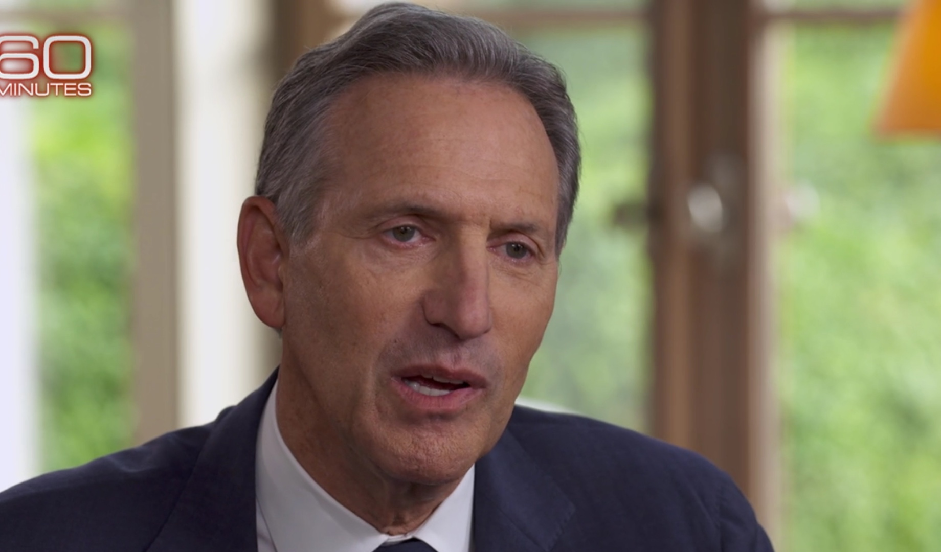 Former Starbucks CEO Howard Schultz is a guest on '60 Minutes' to discuss his potential presidential candidacy in 2020, Jan. 27 2019. CBS News screenshot.
