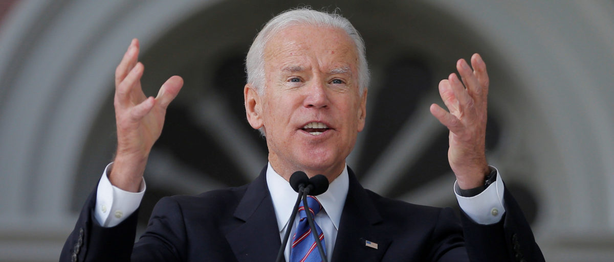 Former Vice President Joe Biden speaks during Class Day Exercises at Harvard University. REUTERS/Brian Snyder