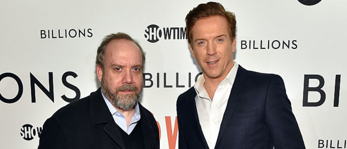 """NEW YORK, NY - JANUARY 07: Actors Paul Giamatti (L) and Damian Lewis attend the Showtime series premiere of """"Billions"""" at The New York Museum Of Modern Art on January 7, 2016 in New York City. (Photo by Mike Coppola/Getty Images for Showtime)"""