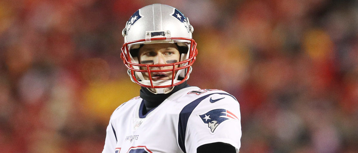 Tom Brady #12 of the New England Patriots looks on in the second half an during the AFC Championship Game at Arrowhead Stadium on January 20, 2019 in Kansas City, Missouri. (Photo by Patrick Smith/Getty Images)