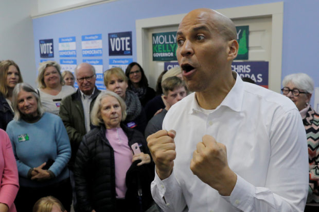 Senator Cory Booker speaks on behalf of U.S. Democratic congressional candidate Chris Pappas. REUTERS/Brian Snyder