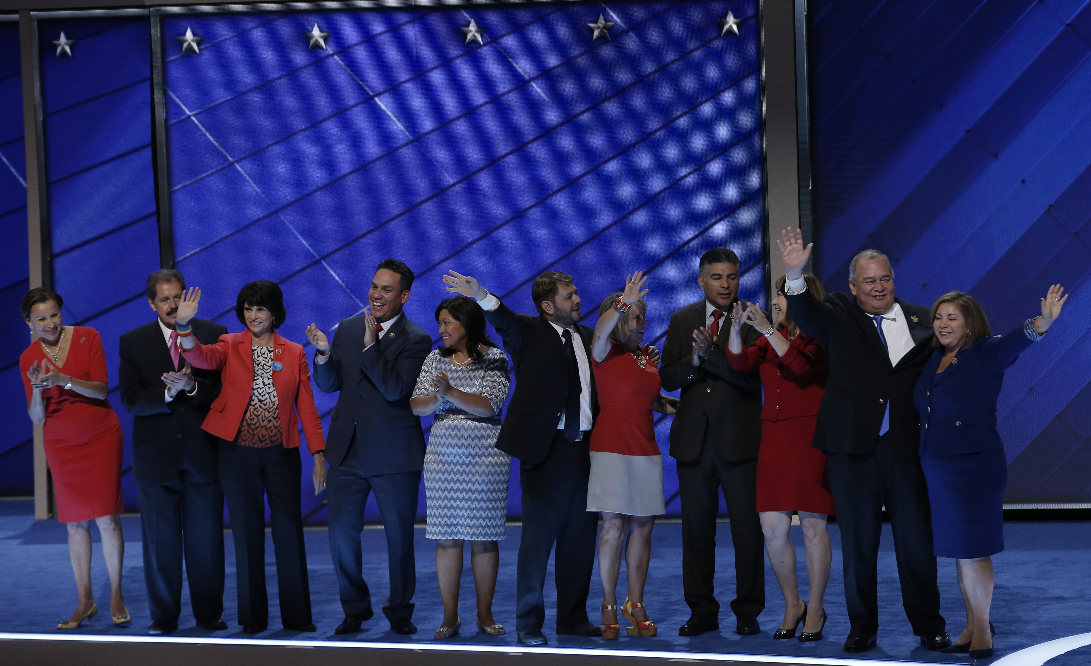 Members of the Congressional Hispanic Caucus stand onstage at the Democratic National Convention REUTERS/Mike Segar