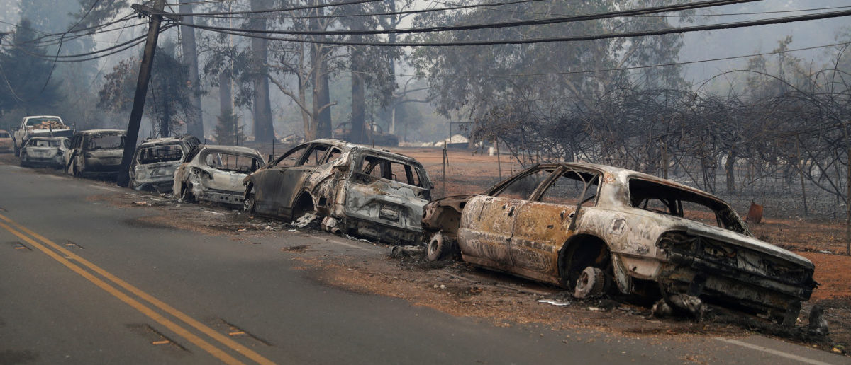 A row of burned vehicles are seen on Skyway during the Camp Fire in Paradise, California, U.S. November 9, 2018. REUTERS/Stephen Lam