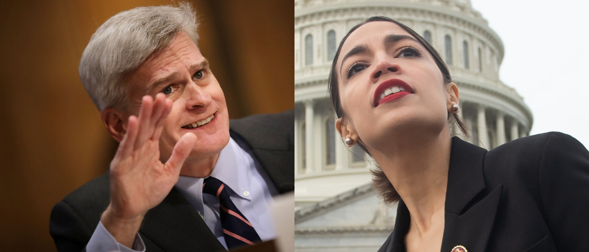Sen. Bill Cassidy gave a point-by-point rebuttal to Rep. Alexandria Ocasio-Cortez's characterization of ICE on Jan. 9, 2019. Chip Somodevilla/Getty Images and SAUL LOEB/AFP/Getty Images