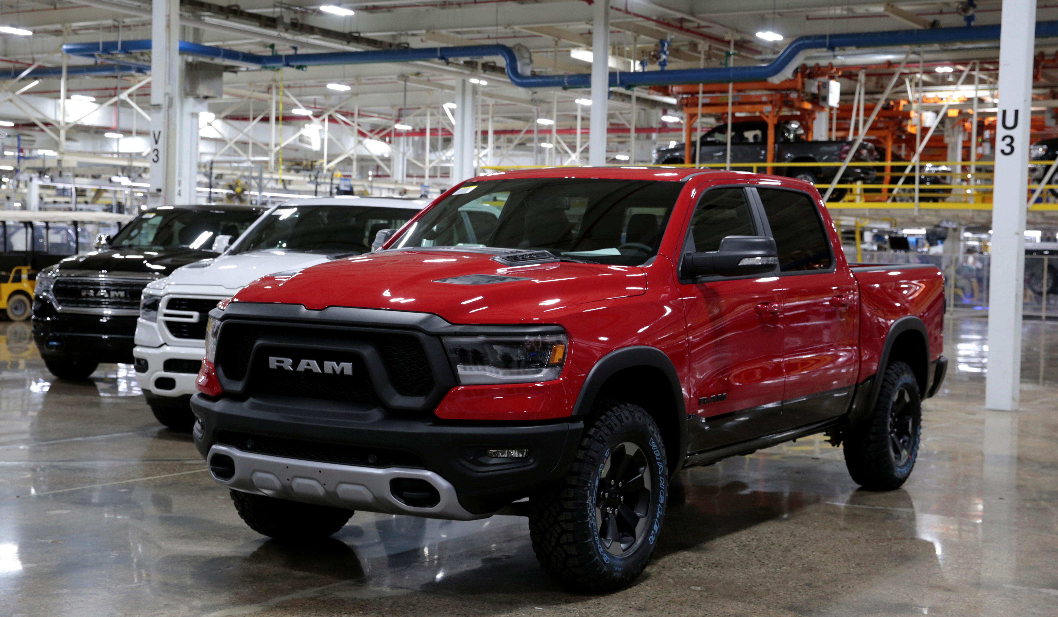 2019 Ram pickup trucks are on display at the FCA Sterling Heights Assembly Plant in Sterling Heights Michigan
