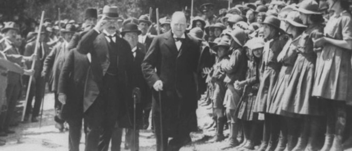 Winston Churchill walks alongside British high commissioner for Palestine Herbert Samuel during a visit to Jerusalem in this March 29, 1921 file photo released by the Israeli Government Press Office (GPO) and obtained by Reuters on June 14, 2018. REUTERS/GPO/Handout
