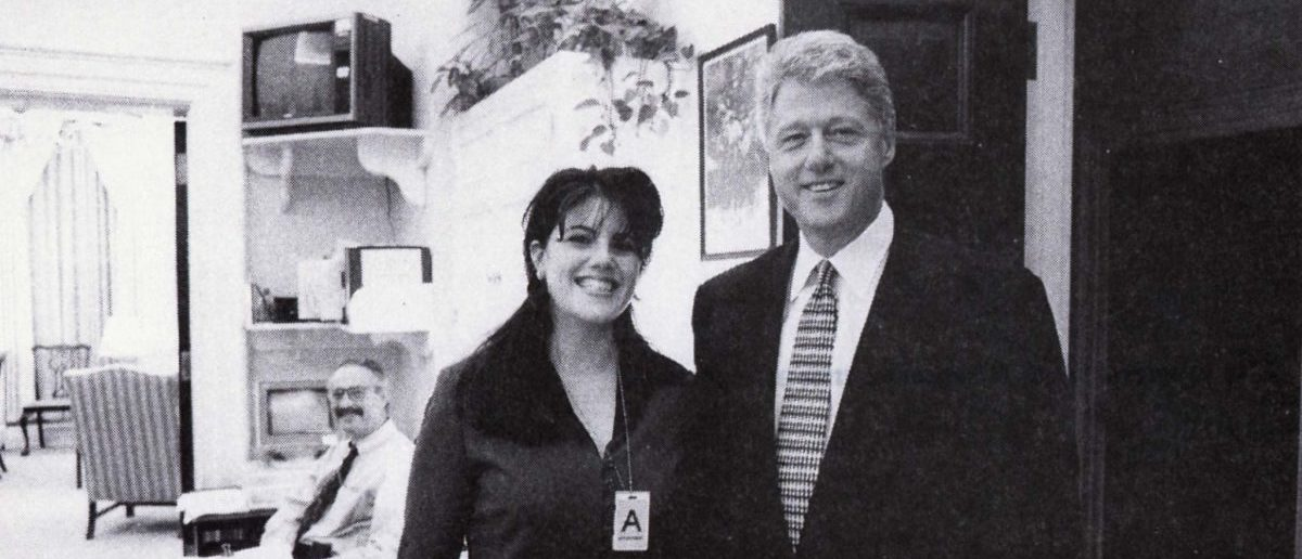 President Clinton poses with Monica Lewinsky in a Nov. 17, 1995 photo, that was released Sept. 21 by Independent Counsel Kenneth Starr as part of more than 3,000 pages of documents pertaining to the scandal. According to Lewinsky's deposition, she and Clinton had a sexual encounter in the White House that day. REUTERS/RC/CM/Old Handout