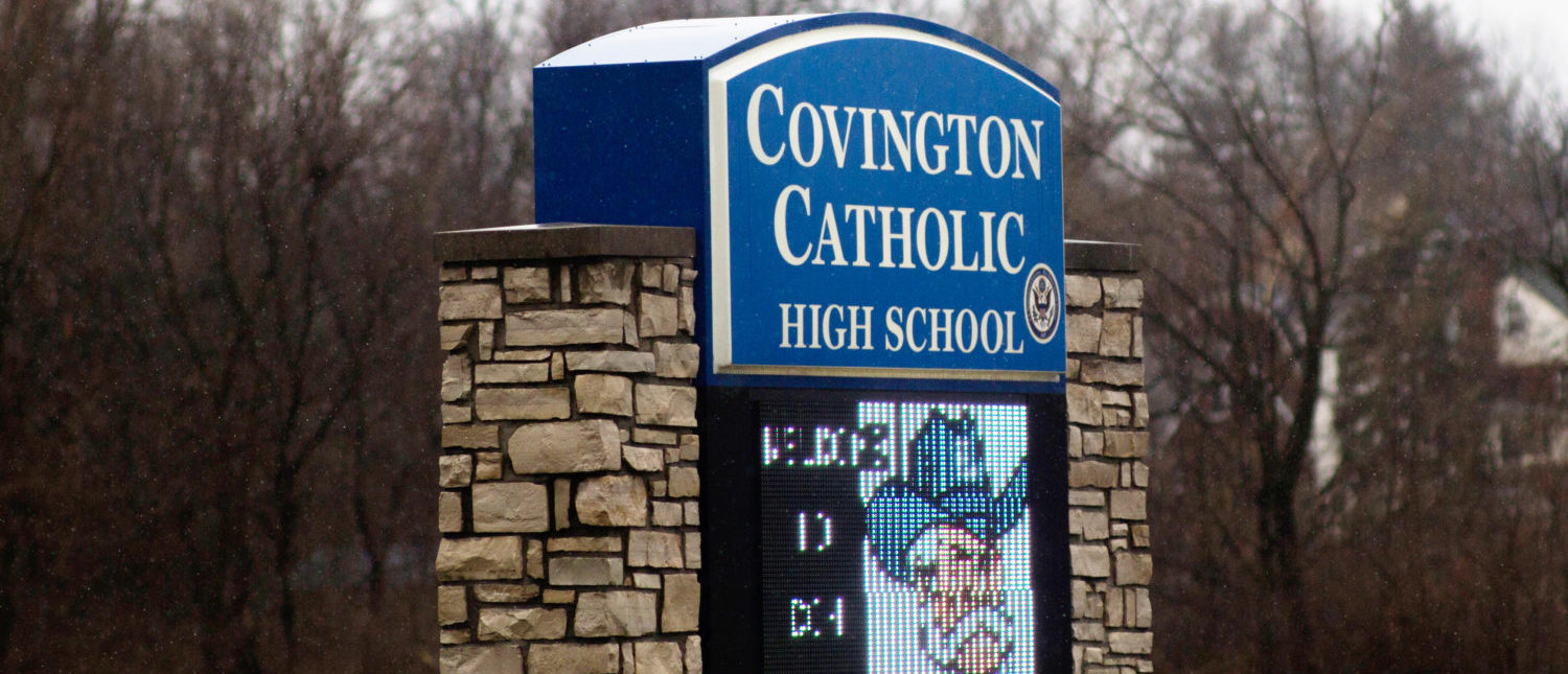 A school marker for Covington Catholic High School is pictured in Park Hills, Kentucky, U.S., Jan. 23, 2019. REUTERS/Madalyn McGarvey
