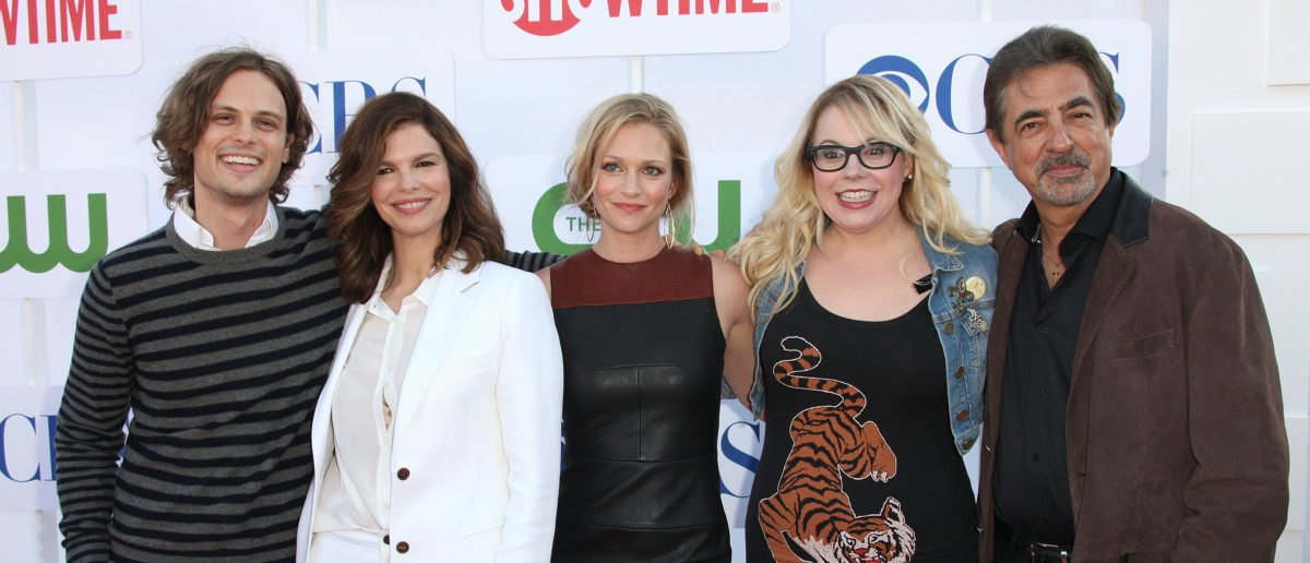 """BEVERLY HILLS, CA - JULY 29: (L-R) The cast, actor Matthew Gray Gubler, actresses Jeanne Tripplehorn, A. J. Cook and actress Kirsten Vangsness and actor Joe Mantegna of the television show """"Criminal Minds"""" attend CW, CBS, And Showtime 2012 Summer TCA Party at The Beverly Hilton Hotel on July 29, 2012 in Beverly Hills, California. (Photo by Frederick M. Brown/Getty Images)"""