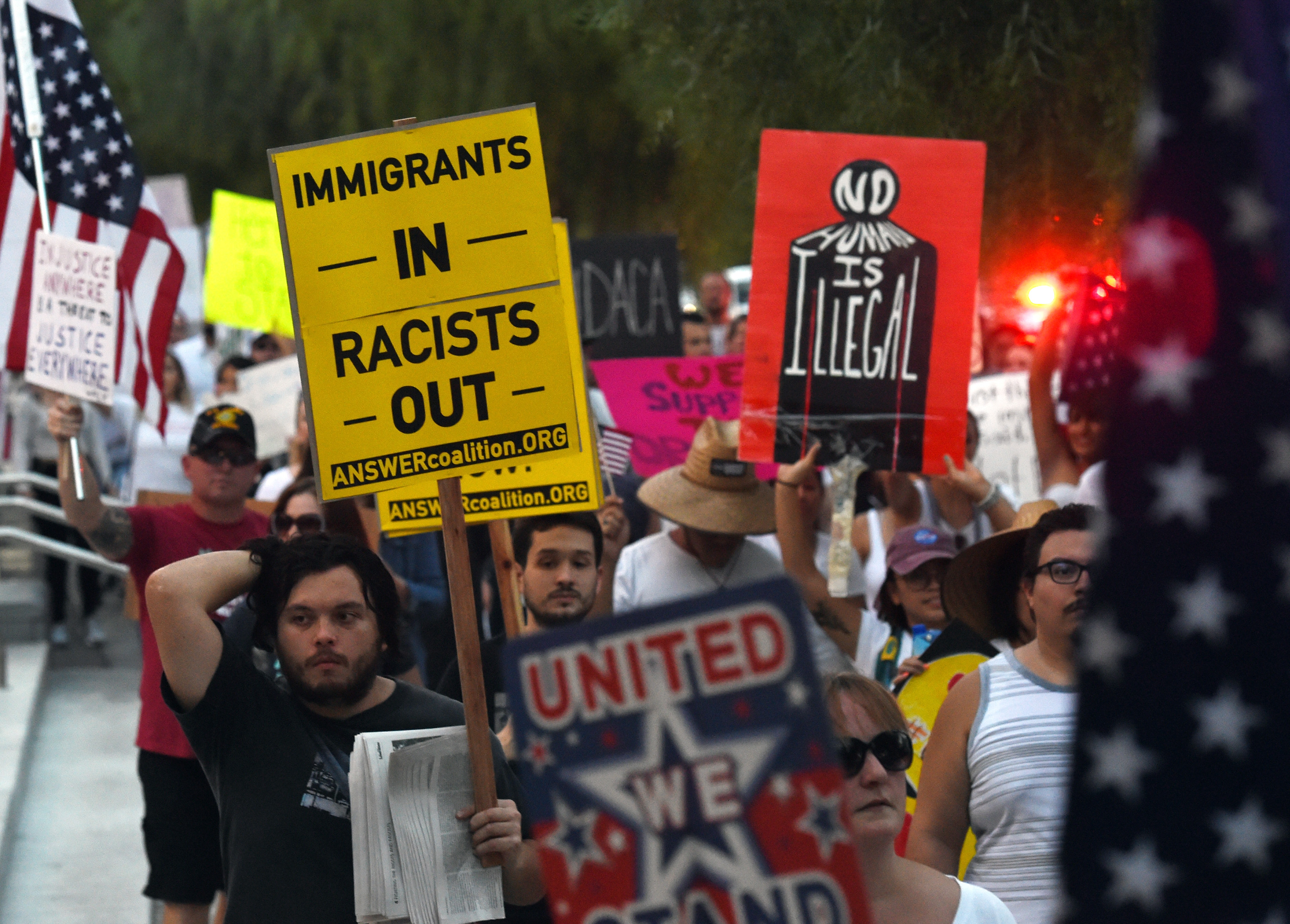 "Immigrants and supporters march on the Las Vegas Strip during a ""We Rise for the Dream"" rally to oppose President Donald Trump's order to end DACA on September 10, 2017 (Ethan Miller/Getty Images)"