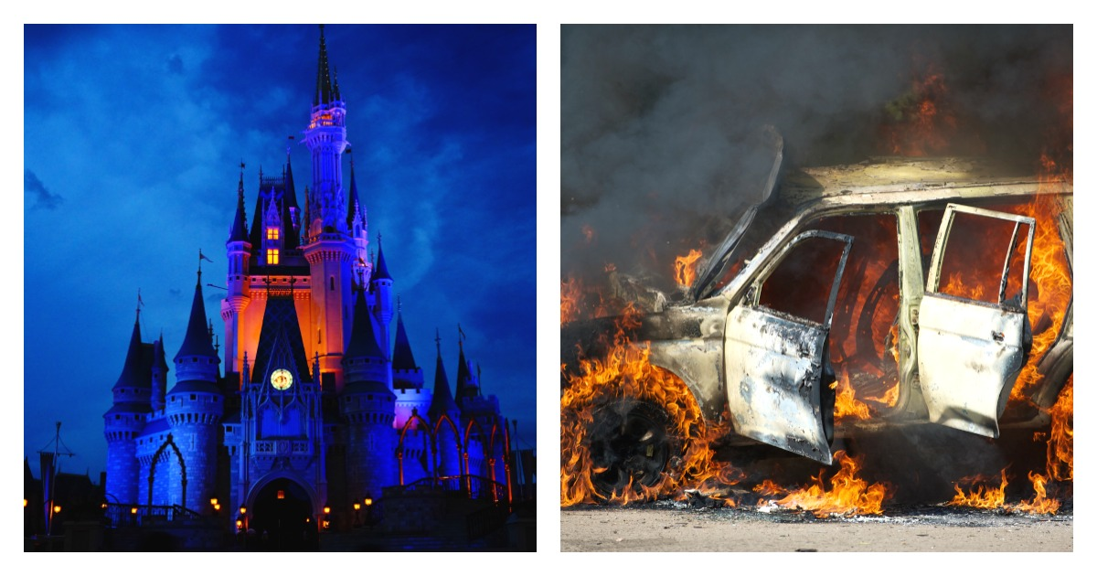 Five children headed to Disney World were among those killed in a fiery crash in Florida. Left, SHUTTERSTOCK/YANLEI LI / Right, SHUTTERSTOCK/ Kristina Postnikova