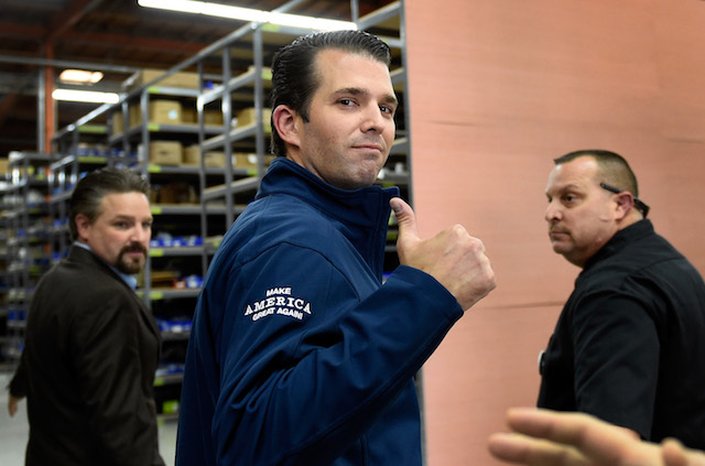 Donald Trump Jr. gives a thumbs-up after a get-out-the-vote rally for his father, Republican presidential nominee Donald Trump, at Ahern Manufacturing on November 3, 2016 in Las Vegas, Nevada. Trump Jr. urged people to vote for his father during early voting, which ends on November 4 in the battleground state, and on Election Day November 8. (Photo by David Becker/Getty Images)