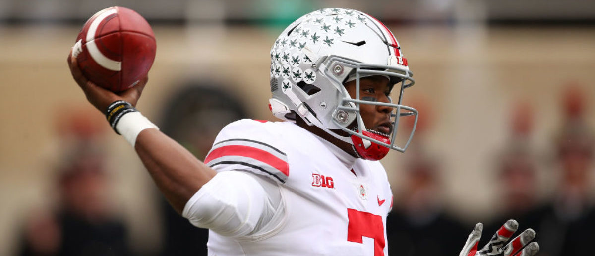 EAST LANSING, MI - NOVEMBER 10: Dwayne Haskins #7 of the Ohio State Buckeyes throws a first half pass while playing the Michigan State Spartans at Spartan Stadium on November 10, 2018 in East Lansing, Michigan. (Photo by Gregory Shamus/Getty Images)