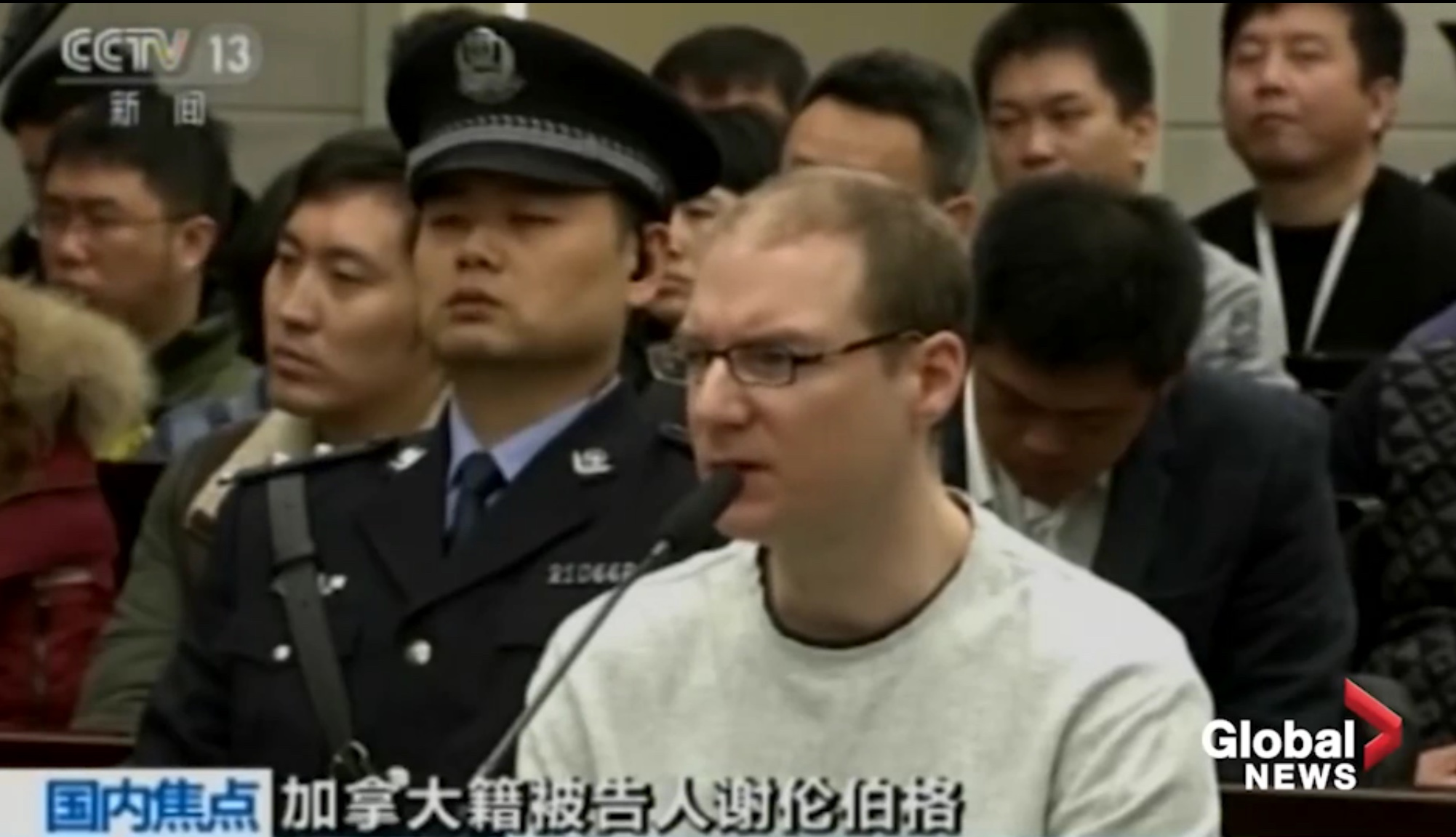 Canadian Robert Schellenberg is sentenced to the death penalty in a Chinese court on Jan. 14, 2019. Global News screenshot.