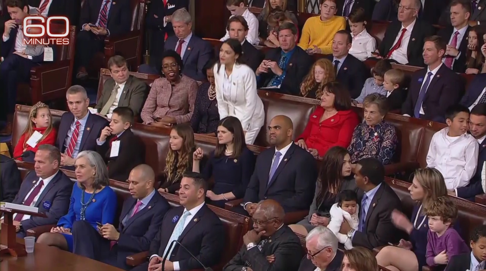 New York Democratic Rep. Alexandria Ocasio-Cortez takes her seat in the House of Representatives. CBS Screenshot, Jan. 6, 2019
