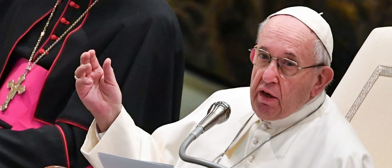 Pope Francis speaks during the weekly general audience on January 9, 2019 at Paul-VI hall in the Vatican. (ANDREAS SOLARO/AFP/Getty Images)