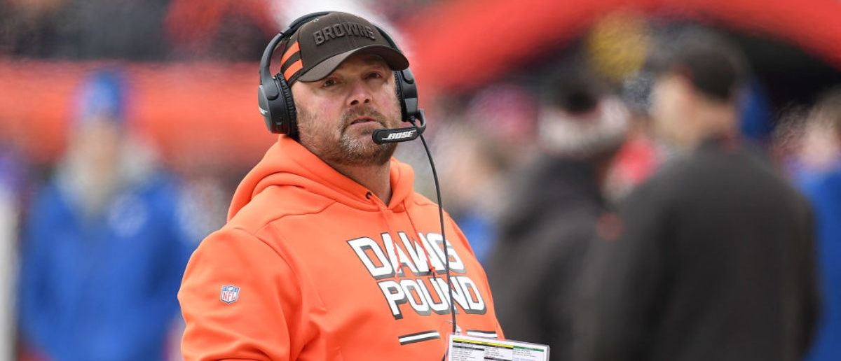 CLEVELAND, OH - DECEMBER 23: Cleveland Browns offensive coordinator Freddie Kitchens looks on during the first quarter against the Cincinnati Bengals at FirstEnergy Stadium on December 23, 2018 in Cleveland, Ohio. (Photo by Jason Miller/Getty Images)