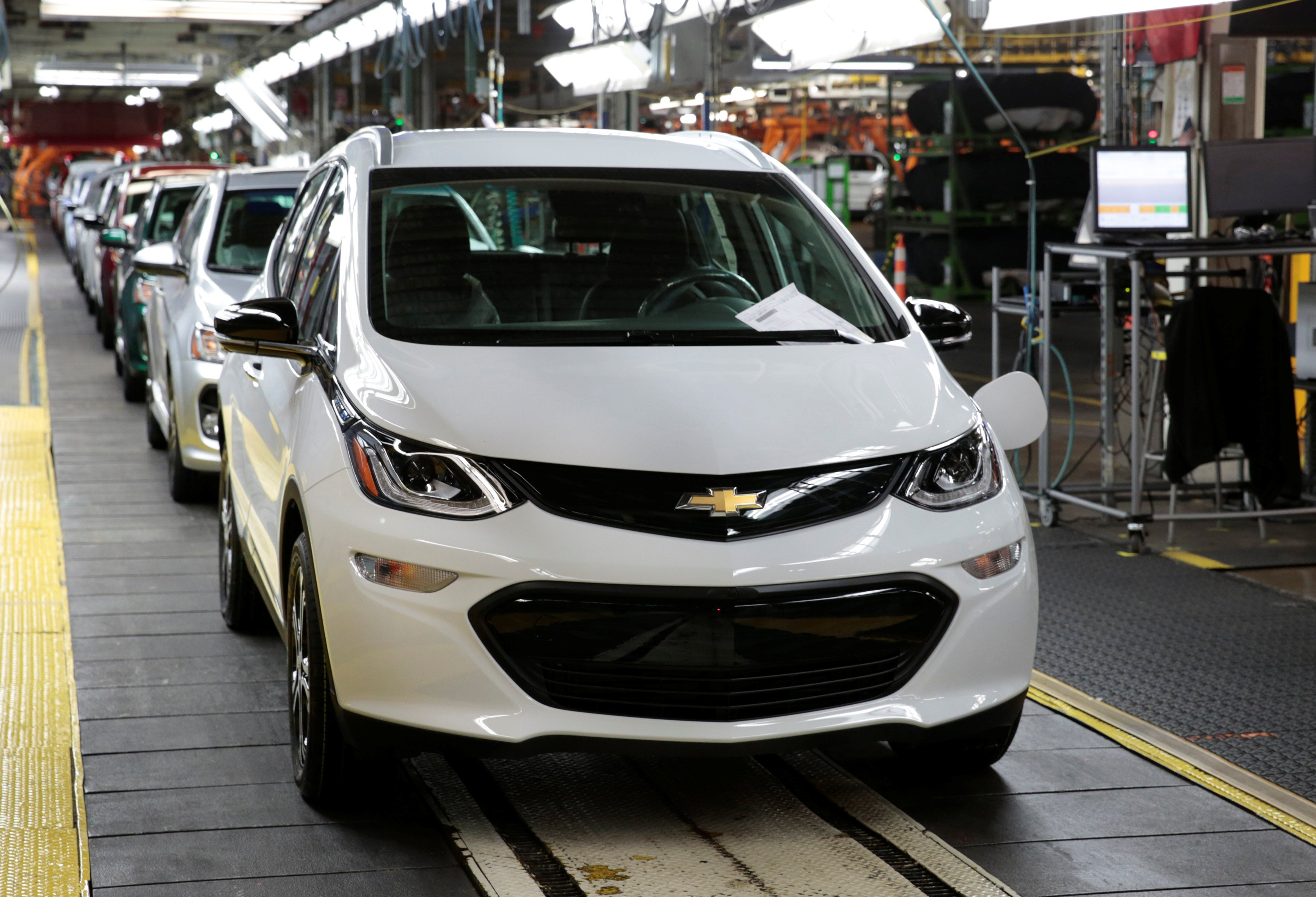 A Chevrolet Bolt EV vehicle is seen on the assembly line at General Motors Orion Assembly in Lake Orion, Michigan, U.S., March 19, 2018. Photo taken March 19, 2018. REUTERS/Rebecca Cook