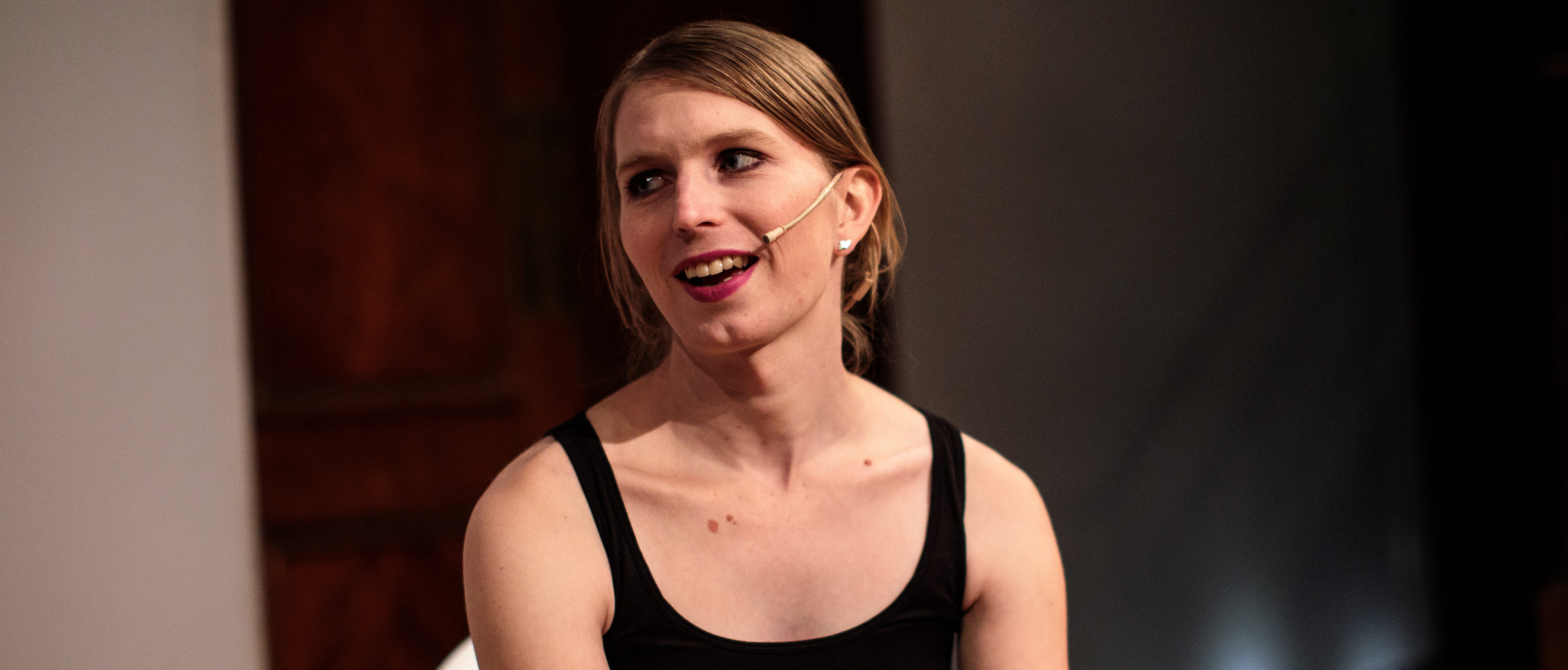 LONDON, ENGLAND - OCTOBER 01: Former American soldier and whistleblower Chelsea Manning speaks with artist and writer James Bridle ahead of an Institute Of Contemporary Arts (ICA) event at the Royal Institution on October 1, 2018 in London, England. US Whistleblower Chelsea Manning appears at a Q&A session on Artificial Intelligence, the state of the data economy and the role of AI and algorithms in public policy among other subjects. Later she will attend a dinner held in her honour. (Photo by Jack Taylor/Getty Images)