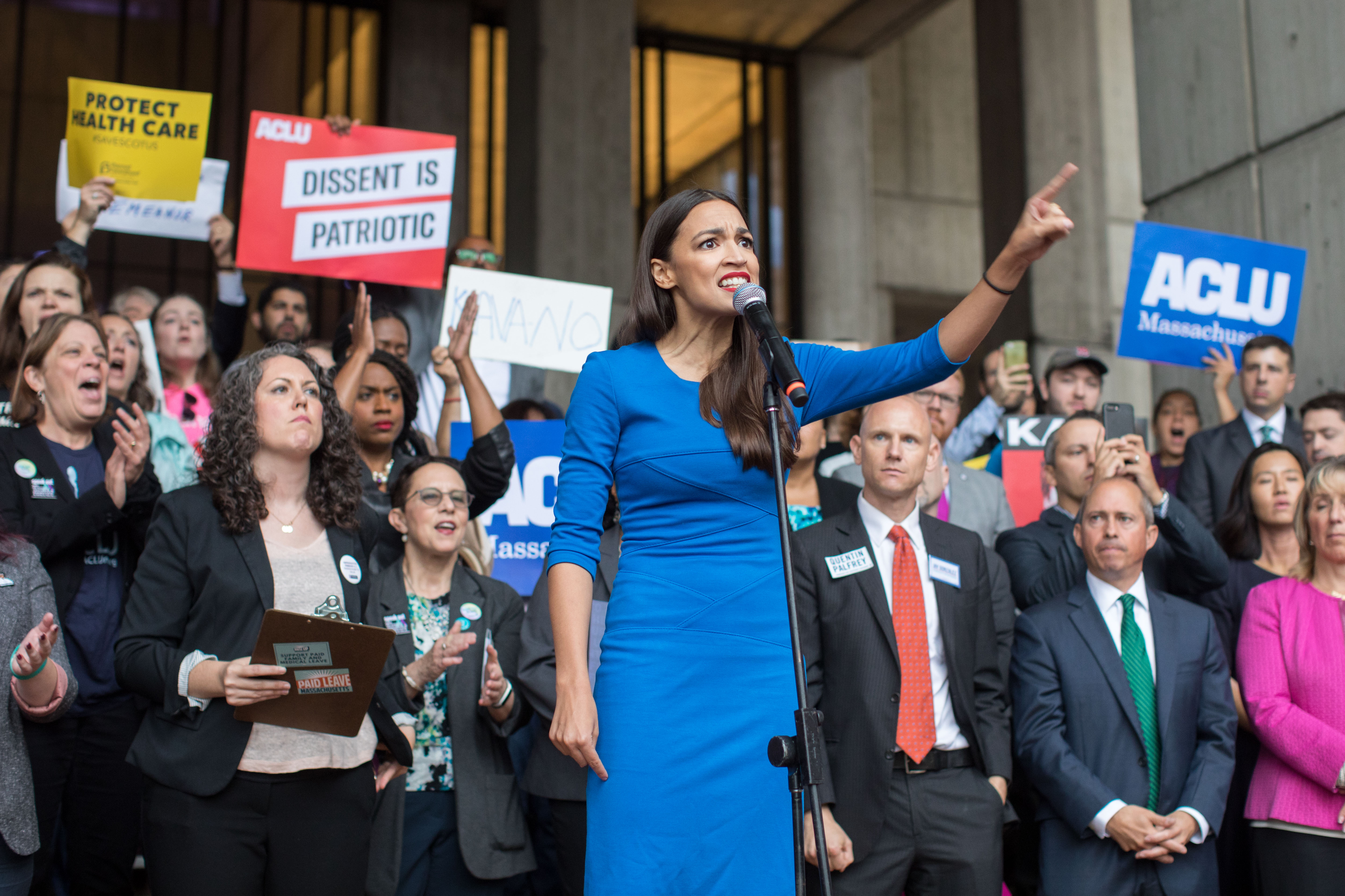 New York Democratic congressional candidate Alexandria Ocasio-Cortez speaks at a rally calling on Sen. Jeff Flake (R-AZ) to reject Judge Brett Kavanaugh's nomination to the Supreme Court on October 1, 2018 in Boston, Massachusetts. (Photo by Scott Eisen/Getty Images)