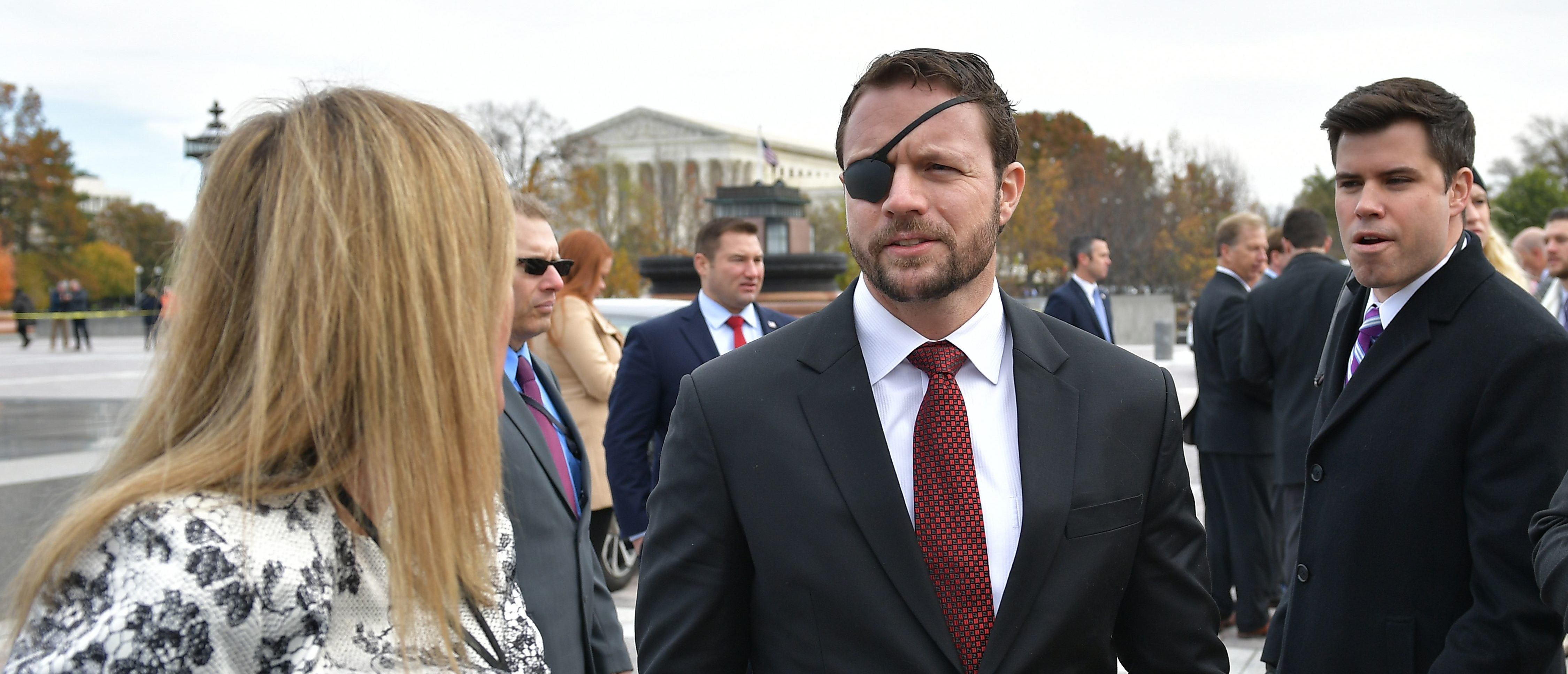 Republican House member-elect Dan Crenshaw is seen after posing for the 116th Congress members-elect group photo on the East Front Plaza of the US Capitol in Washington, DC on November 14, 2018. (Photo credit: MANDEL NGAN/AFP/Getty Images)