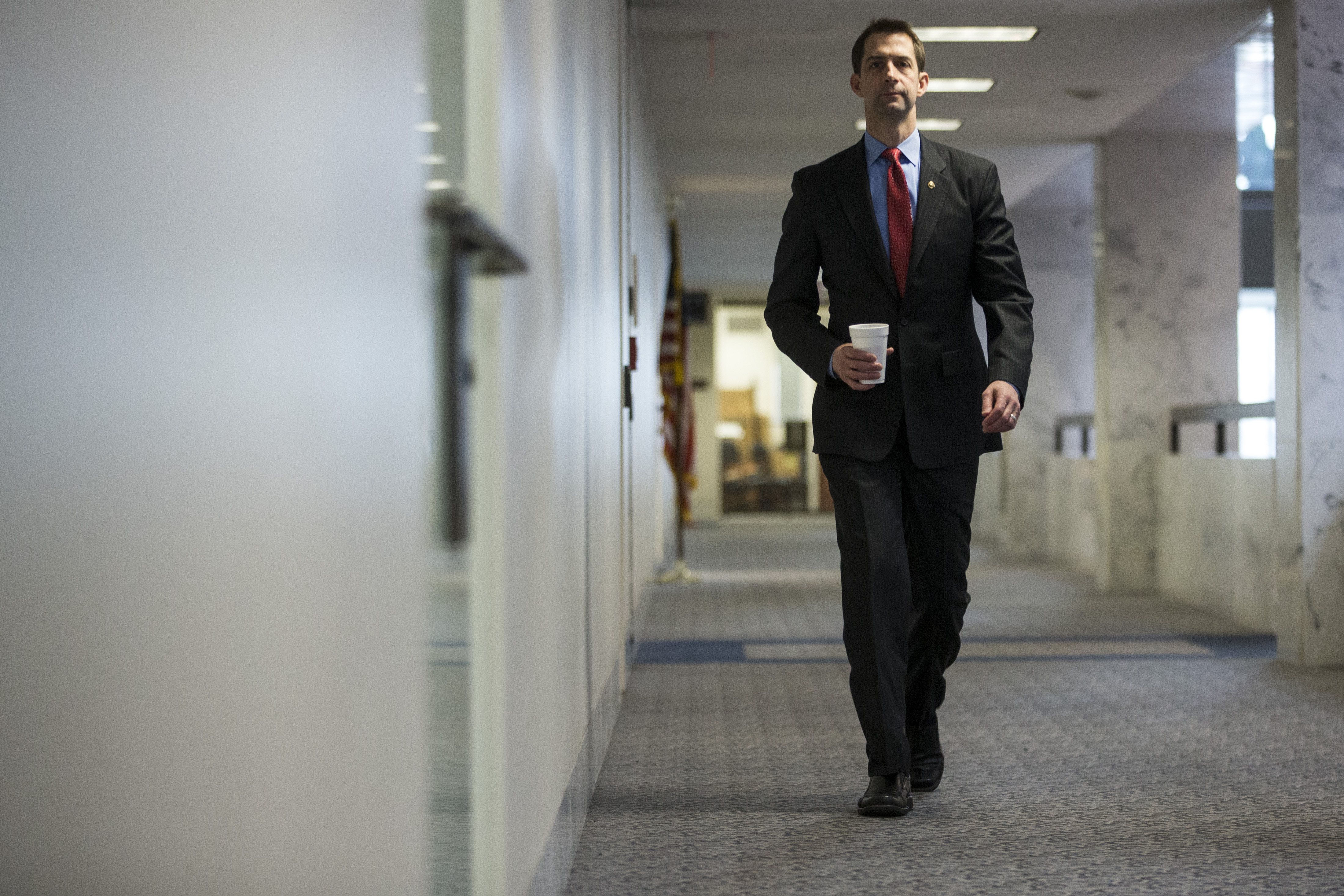 Sen. Tom Cotton walks to a closed briefing on intelligence matters on Capitol Hill on December 4, 2018 in Washington, DC. (Photo by Zach Gibson/Getty Images)