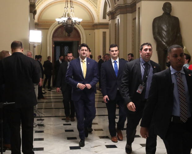 WASHINGTON, DC - DECEMBER 20: Speaker of the House Paul Ryan walks from the floor of the House of Representatives at the U.S. Capitol on December 20, 2018 in Washington, DC. Conservative Republicans in the House are threatening to vote against a short-term funding bill for the federal government passed by the Senate yesterday keeping open the prospect of a government shutdown at the end of the week. (Photo by Mark Wilson/Getty Images)