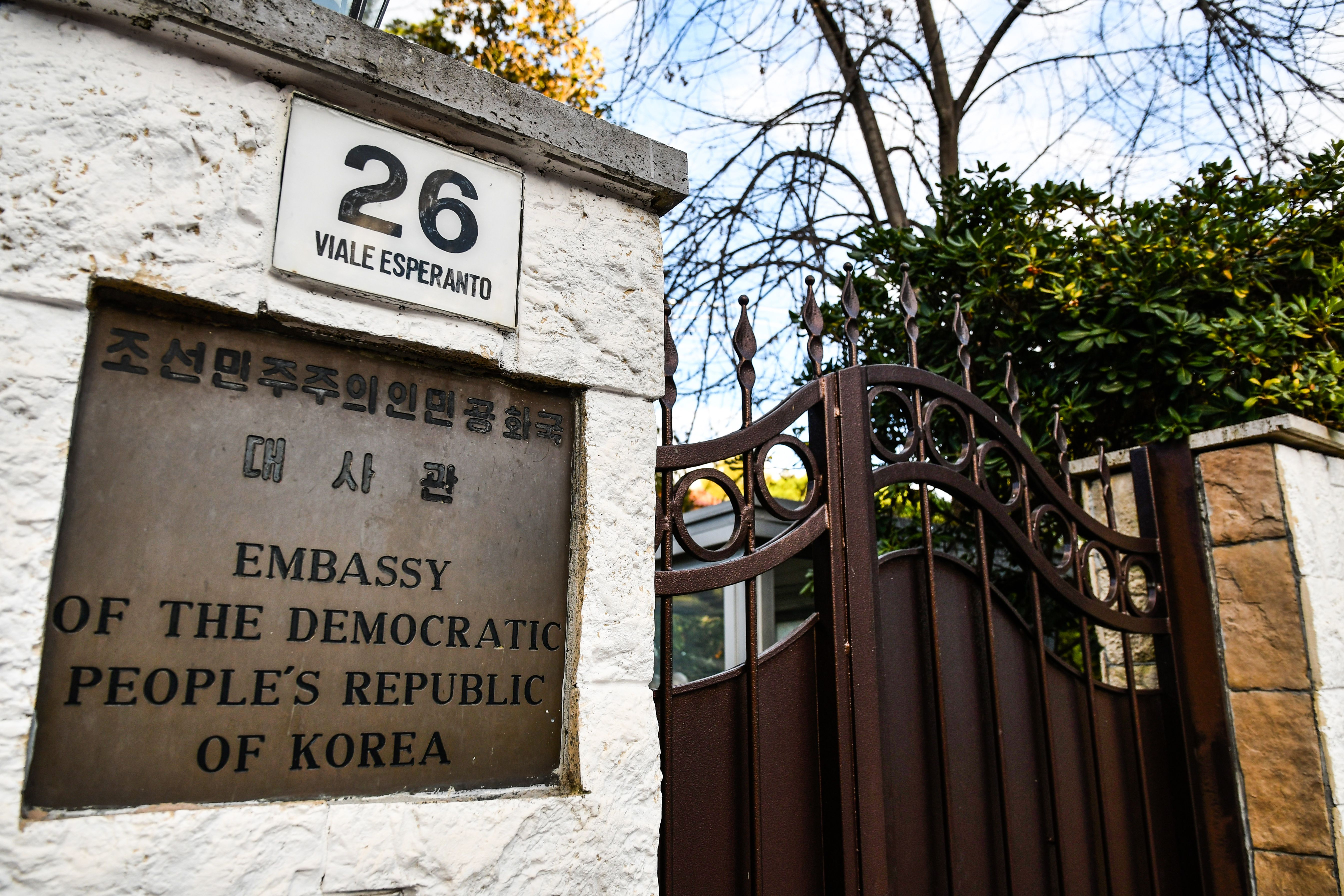 The entrance to North Korea's embassy in Italy is pictured on January 3, 2019 in Rome. - North Korea's top diplomat in Italy has sought asylum and gone into hiding, Seoul lawmakers told reporters after a closed-door meeting with South Korean intelligence officials on January 3. (Photo by Alberto PIZZOLI / AFP)