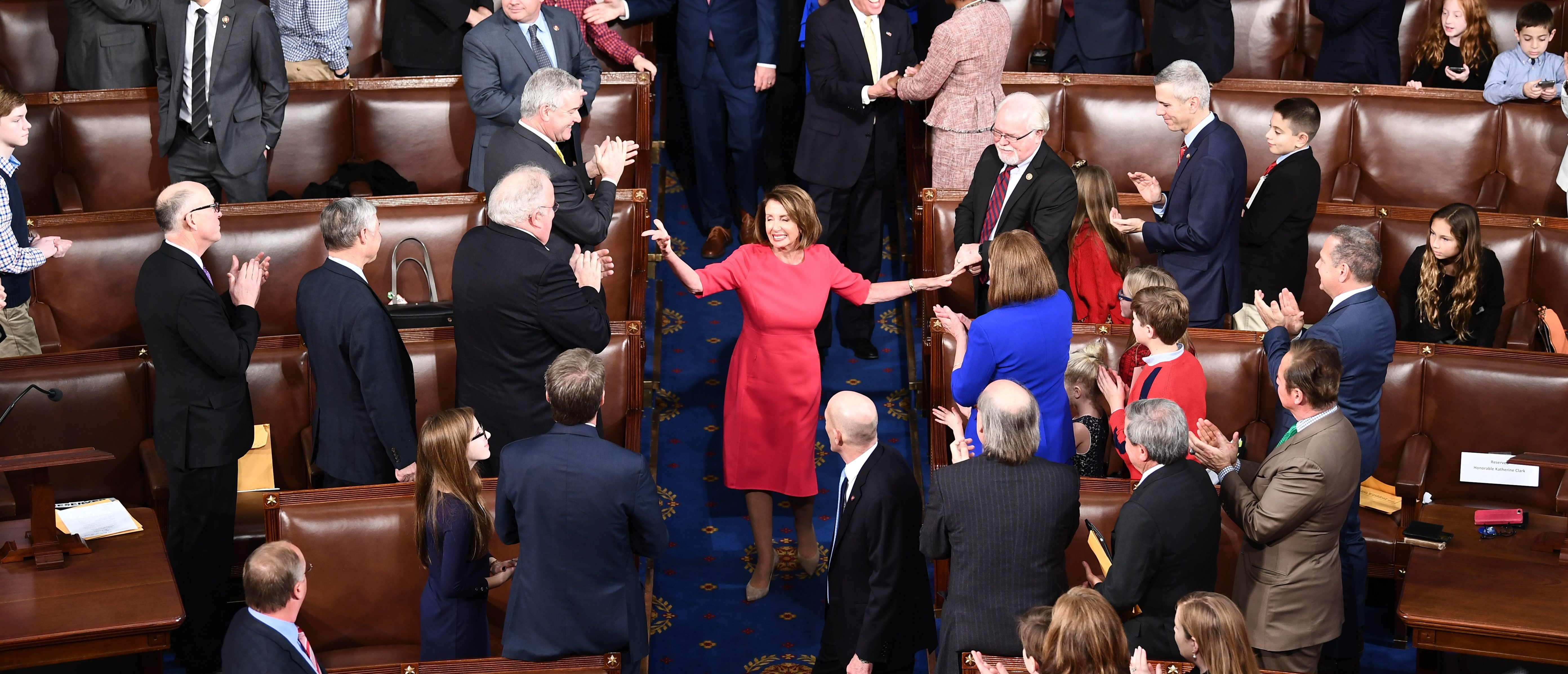 Incoming House Speaker Nancy Pelosi, D-CA, arrives during the opening session of the 116th Congress at the US Capitol in Washington, DC, January 3, 2019. (Photo by Brendan Smialowski / AFP)
