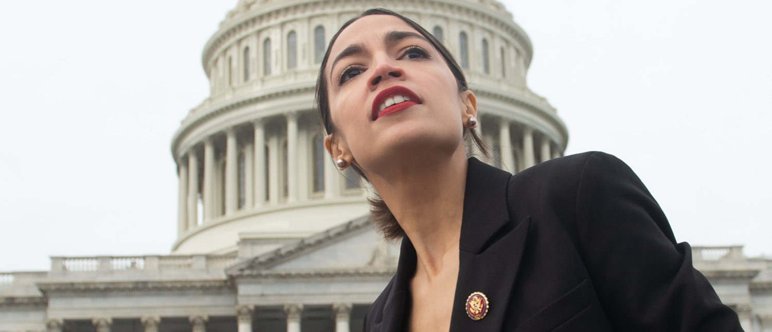 Representative Alexandria Ocasio-Cortez, Democrat of New York, leaves a photo opportunity with the female Democratic members of the 116th US House of Representatives outside the US Capitol in Washington, DC, January 4, 2019. (Photo by SAUL LOEB / AFP) (Photo credit should read SAUL LOEB/AFP/Getty Images)
