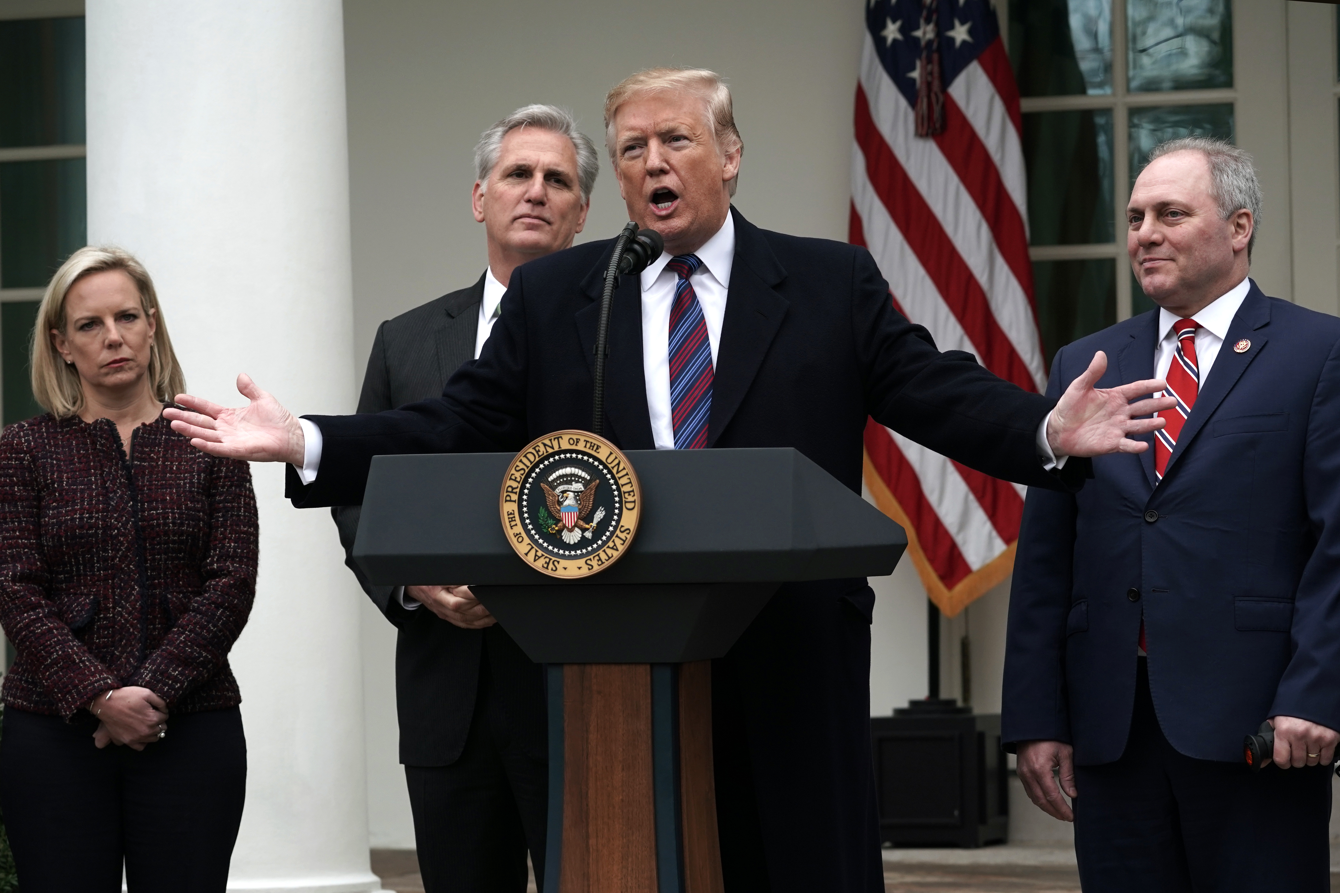 U.S. President Donald Trump speaks as he is joined by (L-R) Secretary of Homeland Security Kirstjen Nielsen, Rep. Kevin McCarthy, and Rep. Steve Scalise in the Rose Garden of the White House on January 4, 2019 in Washington, DC. (Photo by Alex Wong/Getty Images)