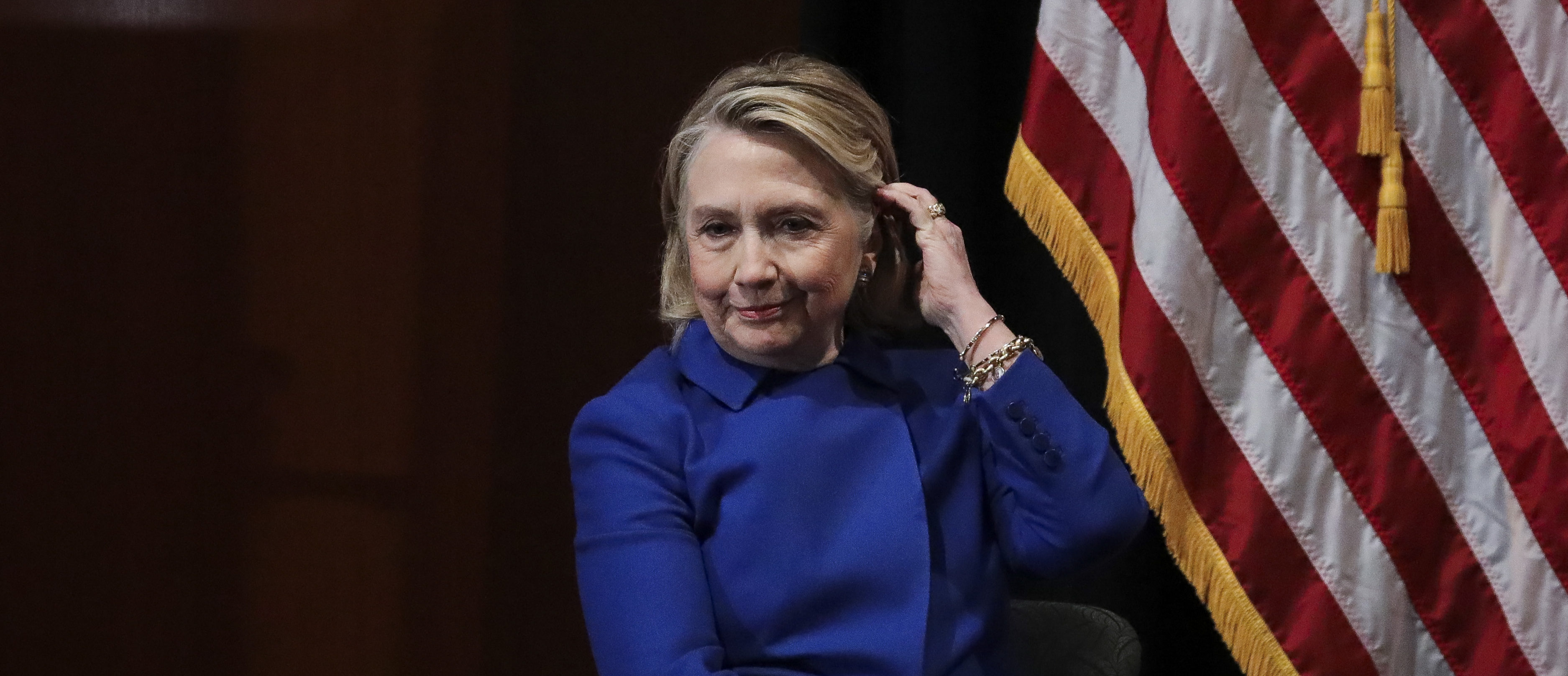 Former Secretary of State Hillary Clinton looks on during an event to discuss reproductive rights at Barnard College, January 7, 2019 in New York City. (Photo by Drew Angerer/Getty Images)