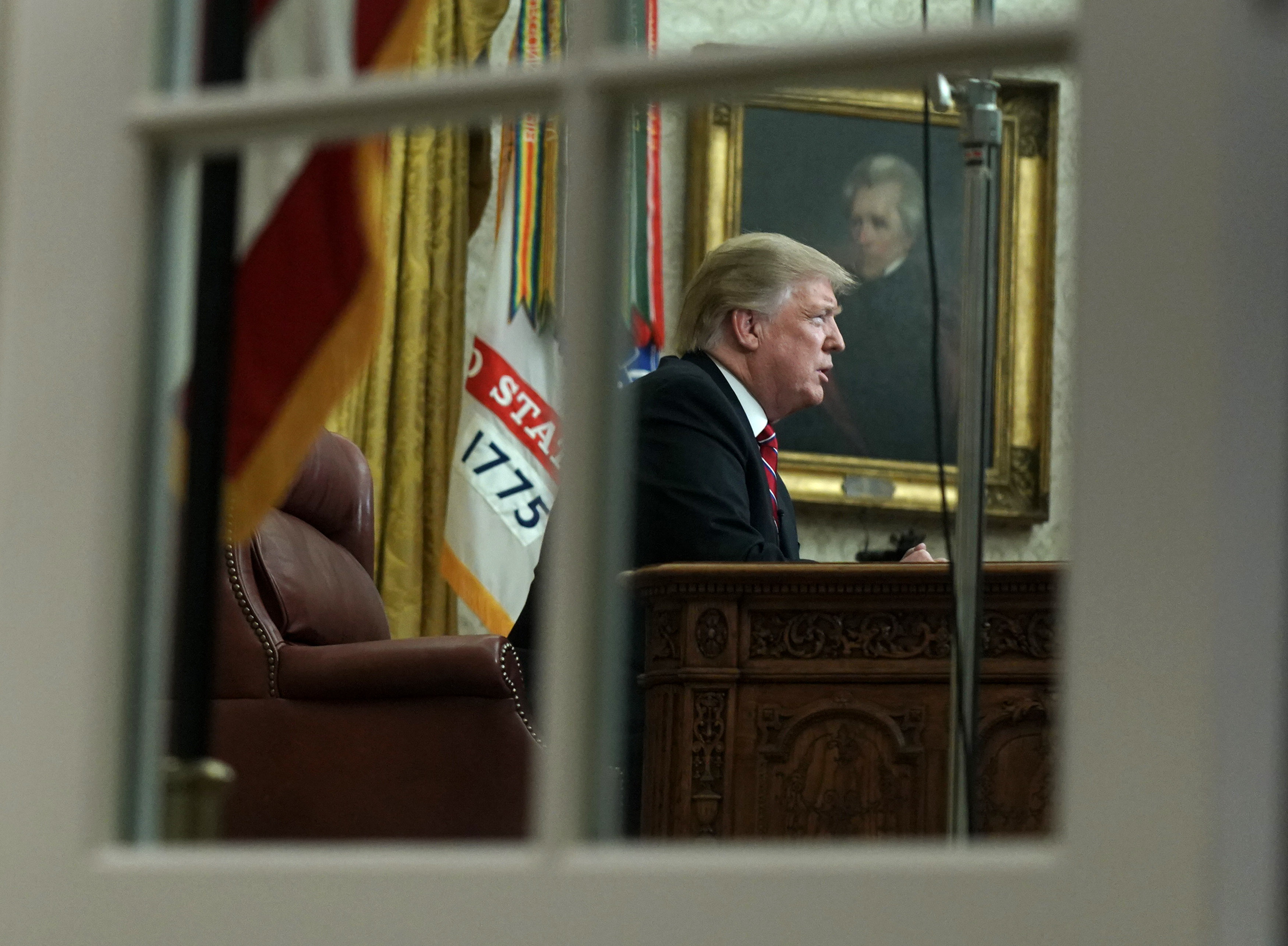 U.S. President Donald Trump speaks to the nation in his first-prime address from the Oval Office of the White House on January 8, 2019 in Washington, DC. (Photo by Kevin Dietsch-Pool/Getty Images)