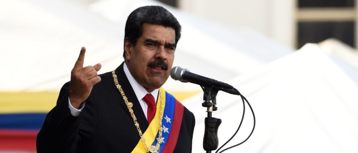 Venezuela's President Nicolas Maduro delivers a speech during the ceremony of recognition by the Bolivarian National Armed Forces (FANB), at the Fuerte Tiuna Military Complex, in Caracas on January 10, 2019. - Maduro begins a new term that critics dismiss as illegitimate, with the economy in free fall and the country more isolated than ever. (Photo by Federico Parra / AFP)