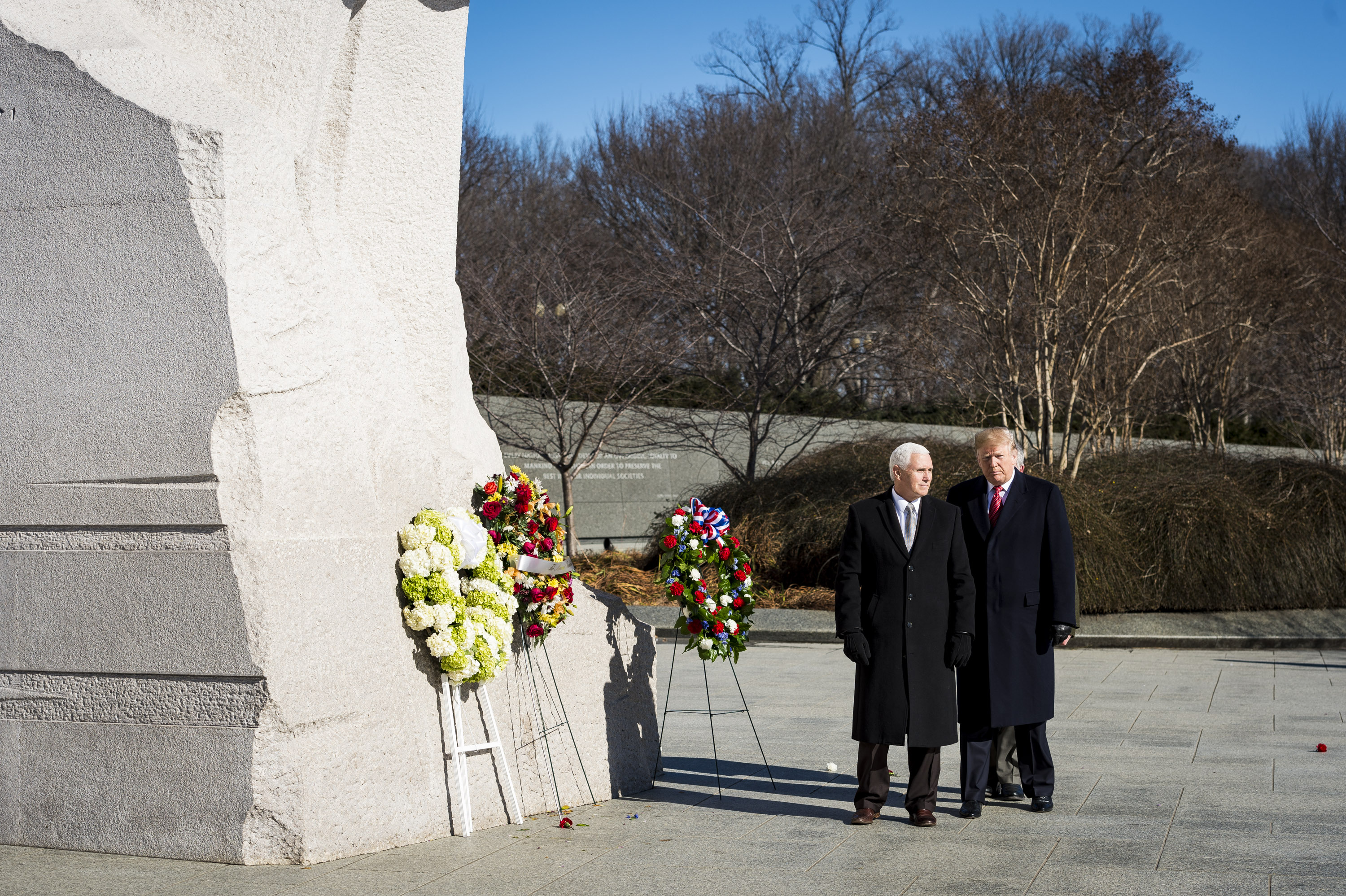 WASHINGTON, DC - JANUARY 21: President Donald Trump and Vice President Mike Pence visit the Martin Luther King Jr. Memorial on January 21, 2019 in Washington, DC. They placed a wreath to commemorate the slain civil rights leader. (Photo by Pete Marovich/Getty Images)