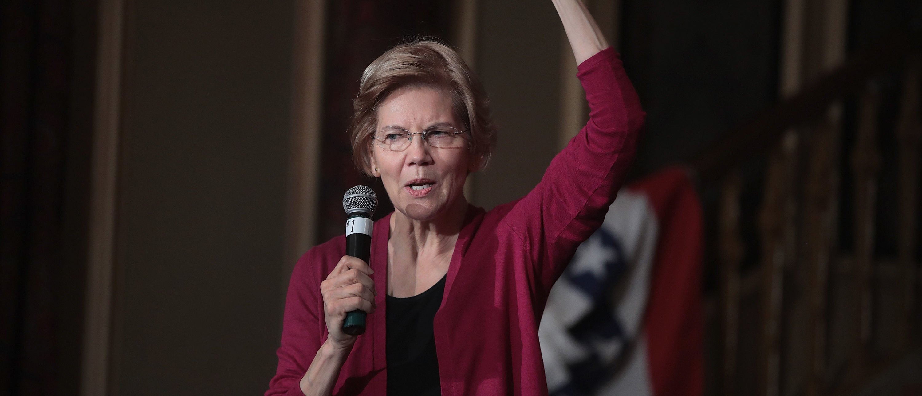 Sen. Elizabeth Warren (D-MA) speaks to guests during an organizing event at the Orpheum Theater on January 5, 2019 in Sioux City, Iowa. (Photo by Scott Olson/Getty Images)