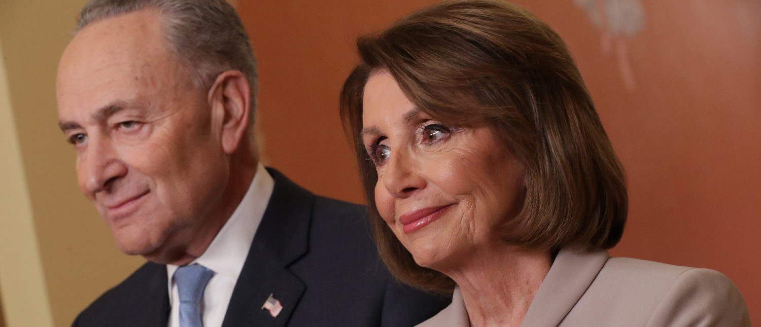 WASHINGTON, DC - JANUARY 08: Speaker of the House Nancy Pelosi (D-CA) and Senate Minority Leader Charles Schumer (D-NY) pose for photographs after delivering a televised response to President Donald Trump's national address about border security at the U.S. Capitol January 08, 2019 in Washington, DC. Republicans and Democrats seem no closer to an agreement on security along the southern border and ending the partial federal government shutdown, the second-longest in history. (Photo by Chip Somodevilla/Getty Images)