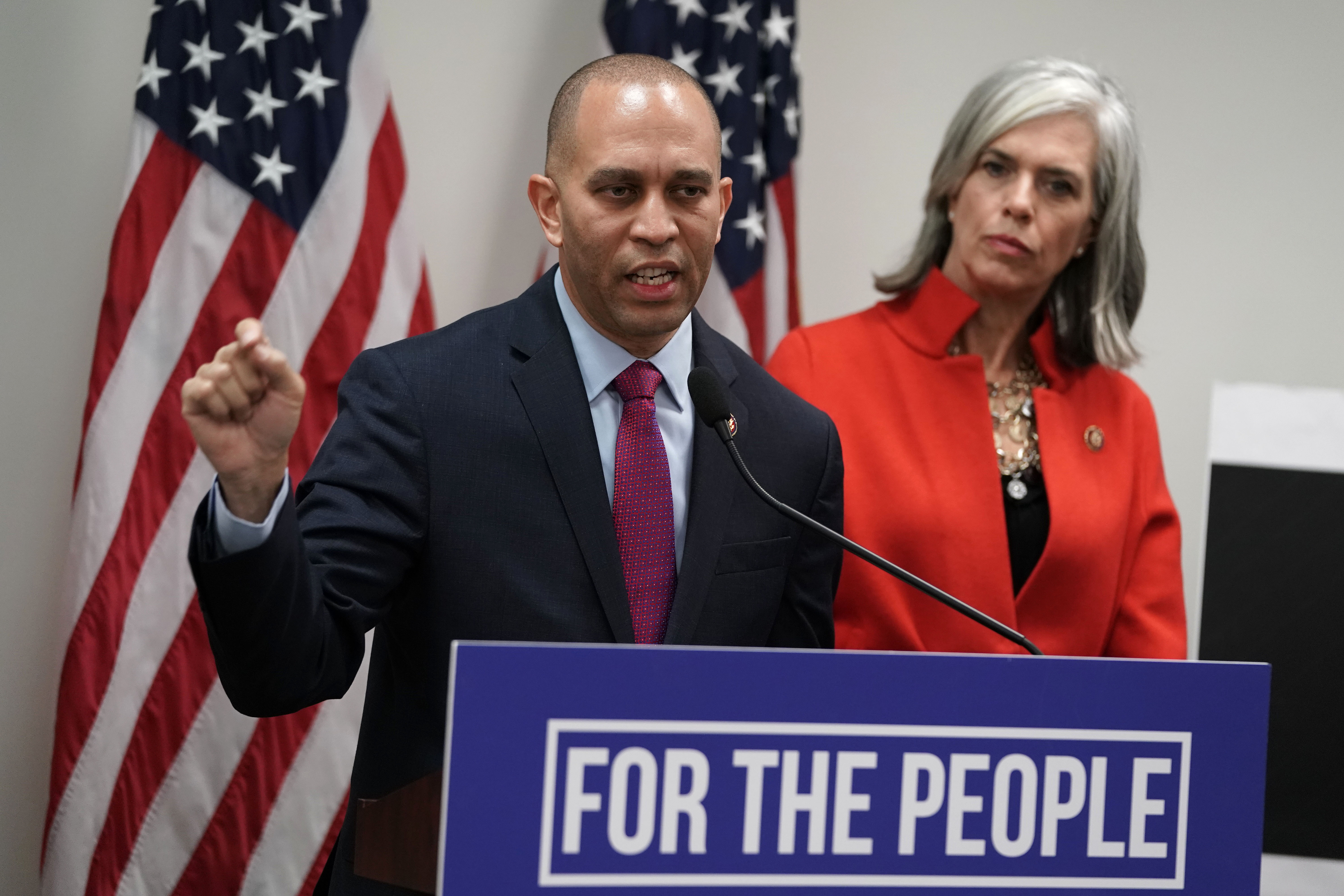 WASHINGTON, DC - JANUARY 09: U.S. House Democratic Caucus Chairman Rep. Hakeem Jeffries (D-NY) speaks as House Democratic Caucus Vice Chair Katherine Clark (D-MA) listens during a news conference after a caucus meeting at the U.S. Capitol January 9, 2019 in Washington, DC. House Democrats gathered to discuss the Democratic agenda as the partial government shutdown enters day 19. (Photo by Alex Wong/Getty Images)