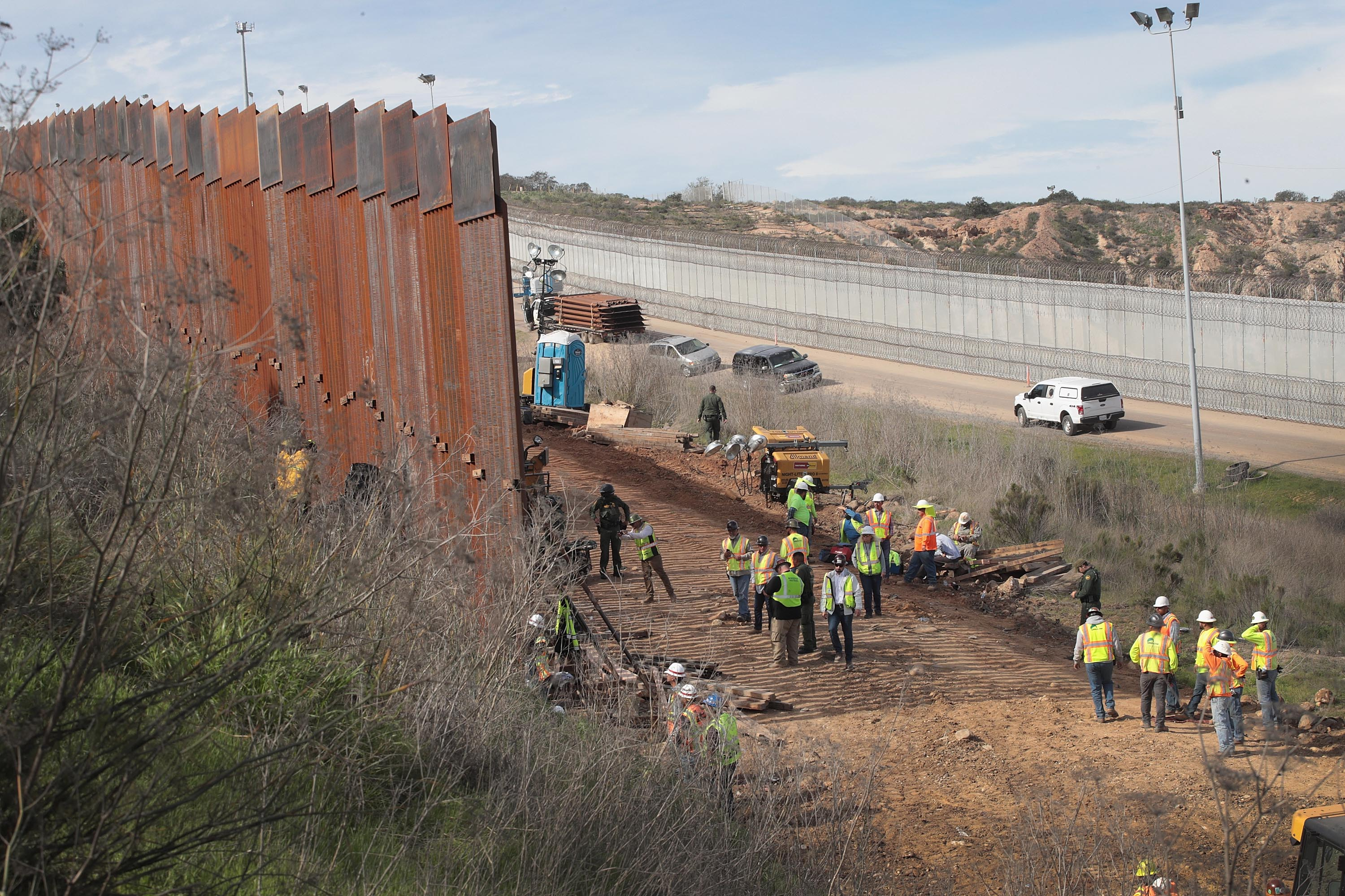 A section of border wall is constructed on the U.S. side of the border on January 28, 2019 in Tijuana, Mexico. (Photo by Scott Olson/Getty Images)