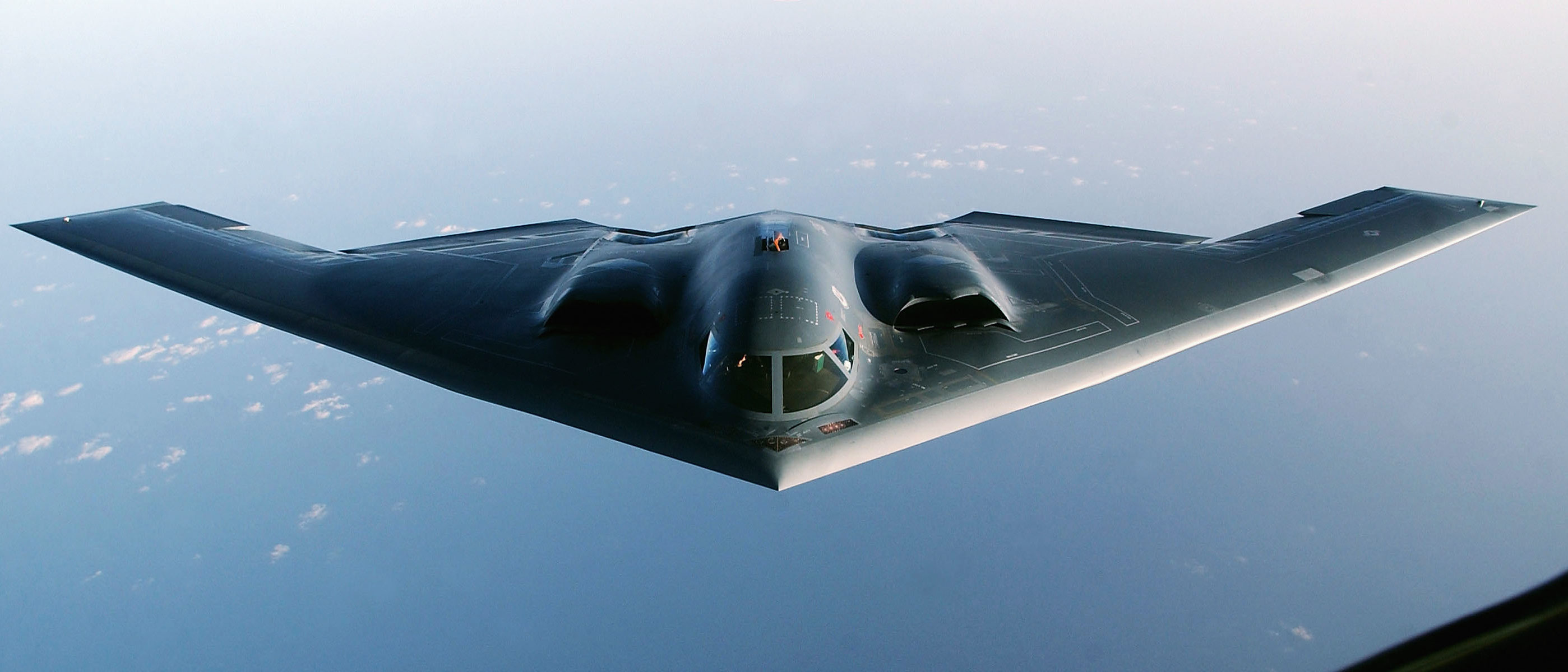 OVER THE INDIAN OCEAN - MARCH 27: A B-2 Spirit Stealth Bomber proceeds to an undisclosed location after completing a mission over Iraq March 27, 2003. The Pentagon has announced its intention to almost double the military ground strength in the Gulf to about 200,000 troops over the next month. (Photo by Cherie A. Thurlby/U.S. Air Force/Getty Images)