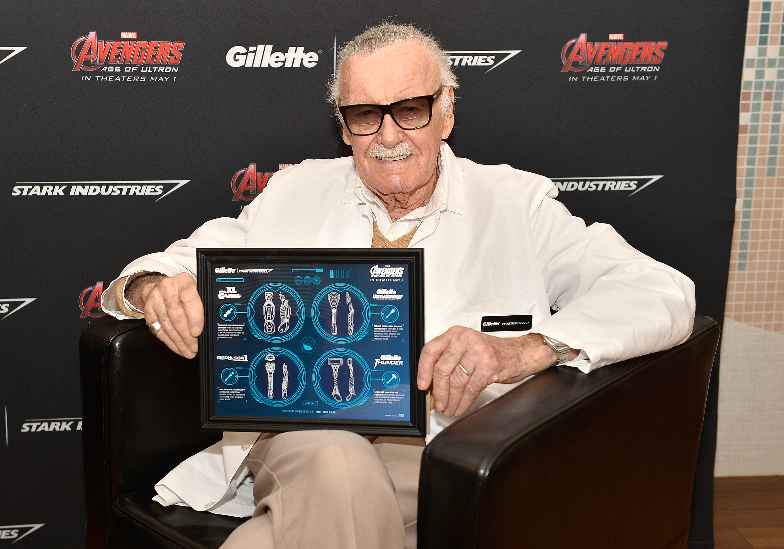 Stan Lee attends the Stark Industries and Gillette announcement of a collaboration to develop prototype razors at Gillette's World Shaving Headquarters as part of the marketing campaign to support Marvel's Avengers: Age of Ultron. (Photo by Paul Marotta/Getty Images for Gillette)