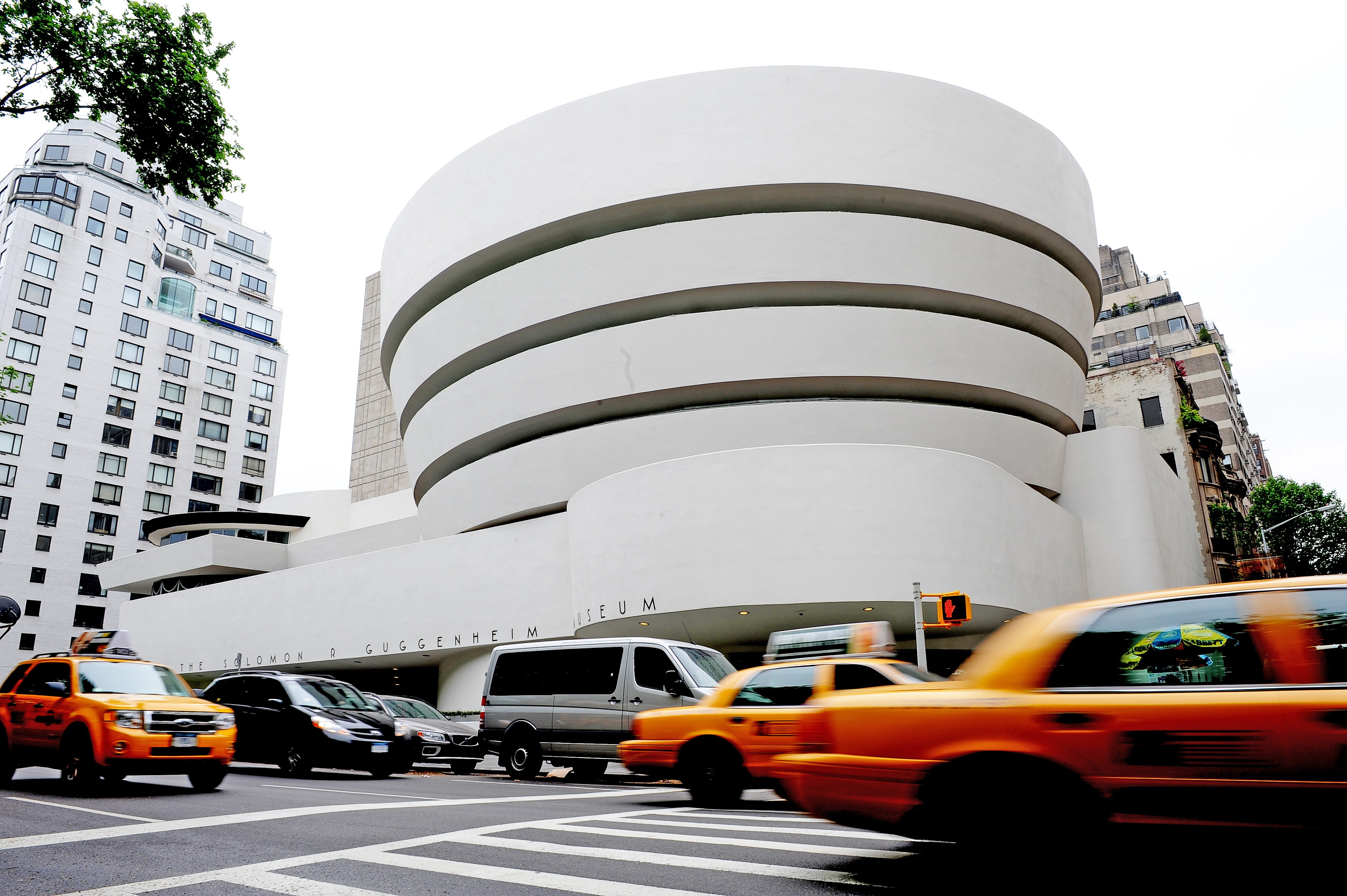 "An exterior view along Fifth Avenue May 14, 2009 of the Guggenheim Museum in New York as the museum marks its 50th anniversary with an exhibition ""Frank Lloyd Wright: From Within Outward"". The building itself was designed by Wright. (STAN HONDA/AFP/Getty Images)"