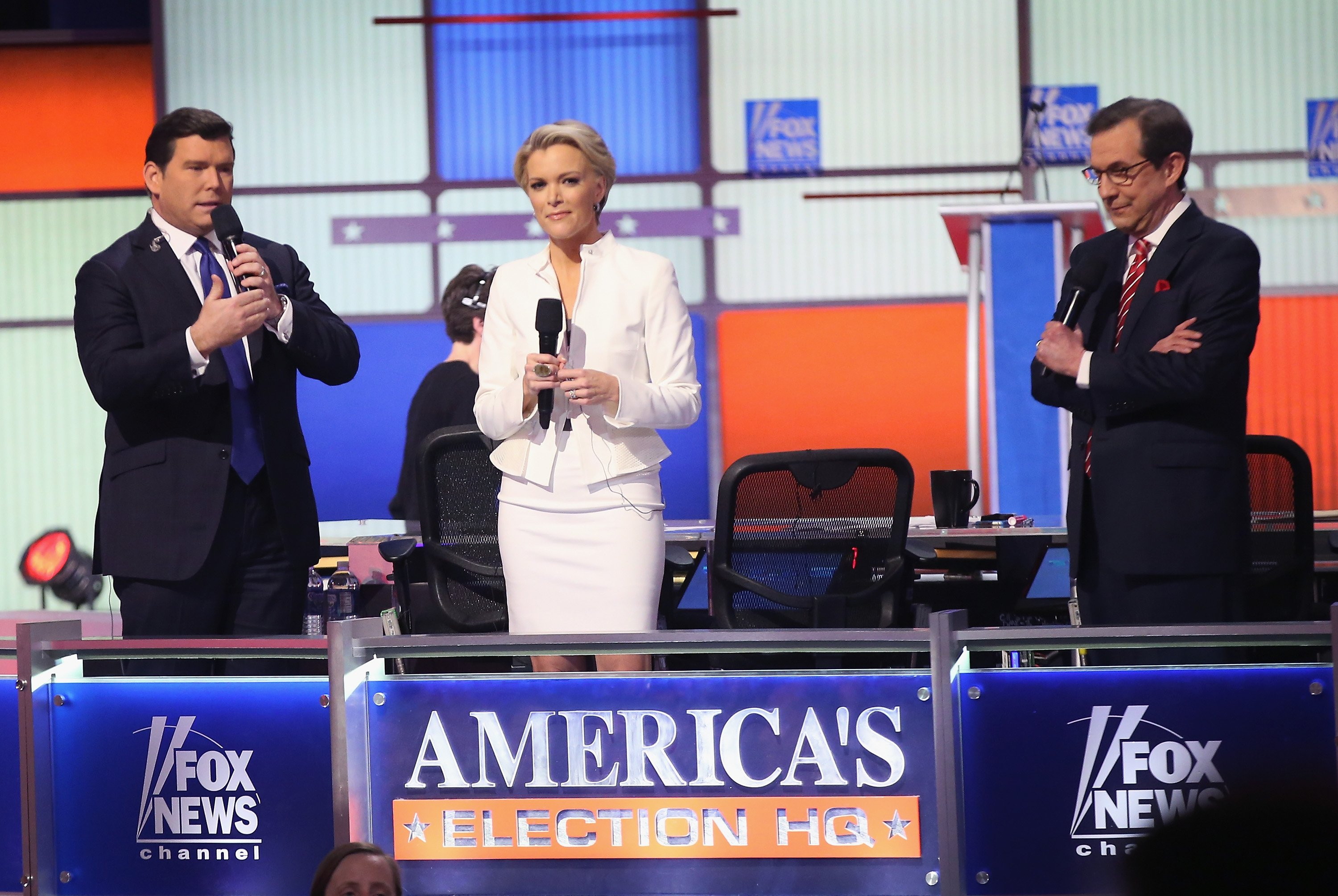 DETROIT, MI - MARCH 03: Moderators (Lto R) Bret Baier, Megyn Kelly and Chris Wallace are introduced at the Republican presidential debate sponsored by Fox News at the Fox Theatre on March 3, 2016 in Detroit, Michigan. Voters in Michigan will go to the polls March 8 for the State's primary. (Photo by Scott Olson/Getty Images)