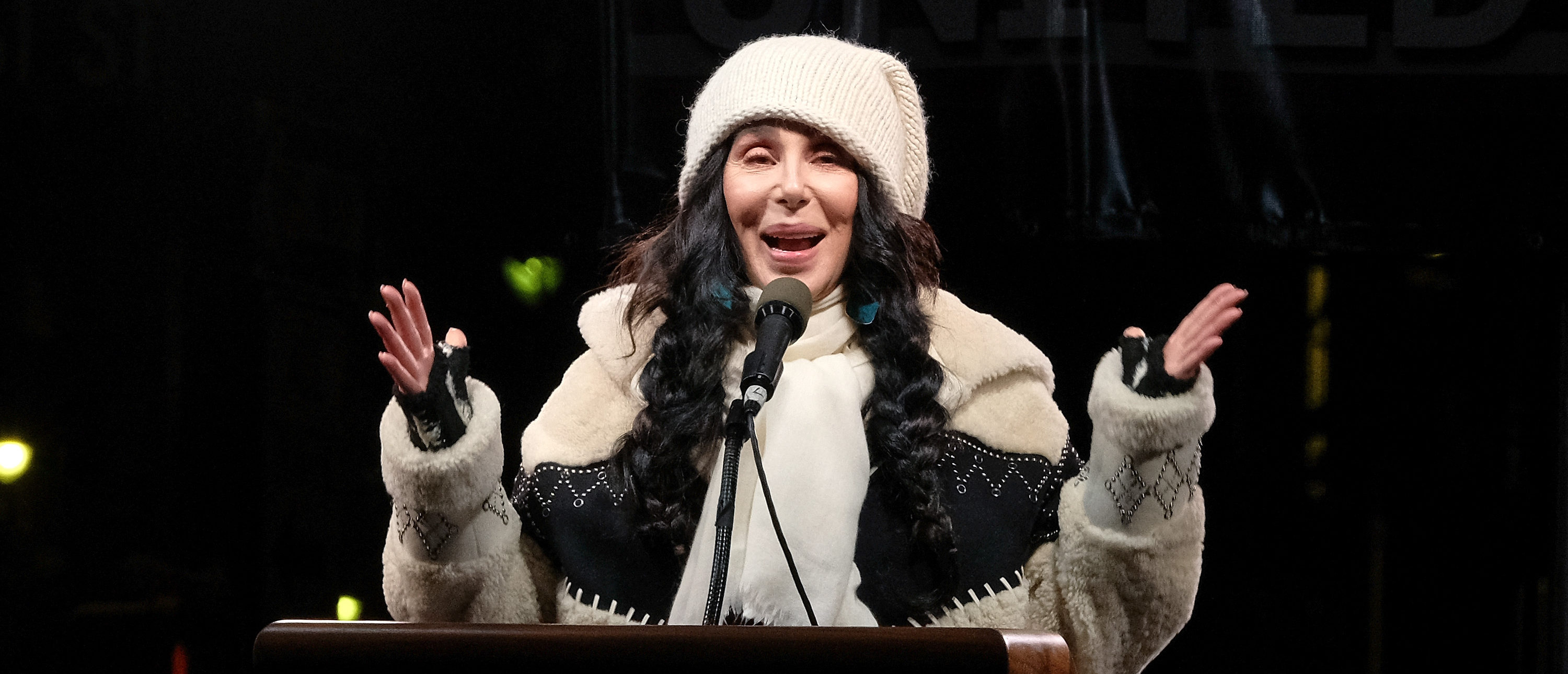 NEW YORK, NY - JANUARY 19: Cher speaks onstage during the We Stand United NYC Rally outside Trump International Hotel & Tower on January 19, 2017 in New York City. (Photo by D Dipasupil/Getty Images)