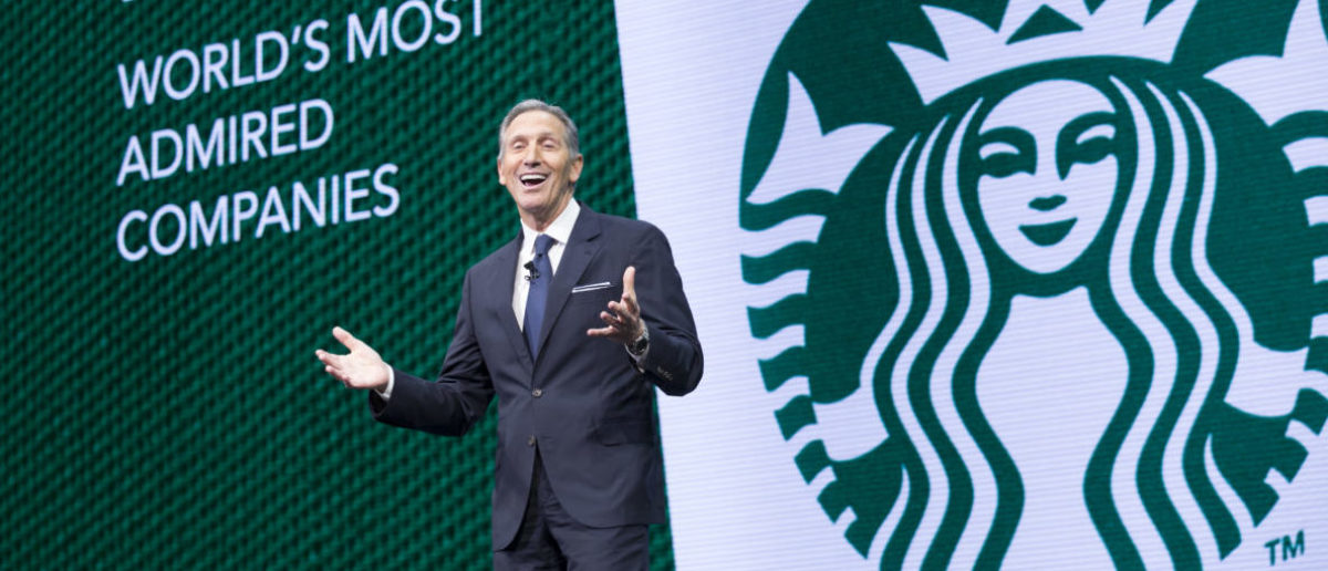 SEATTLE, WA - MARCH 22: CEO Howard Schultz speaks during the Starbucks annual meeting of shareholders on March 22, 2017 in Seattle, Washington. The 25th annual meeting will be the last for Schultz as CEO. (Photo by Stephen Brashear/Getty Images)