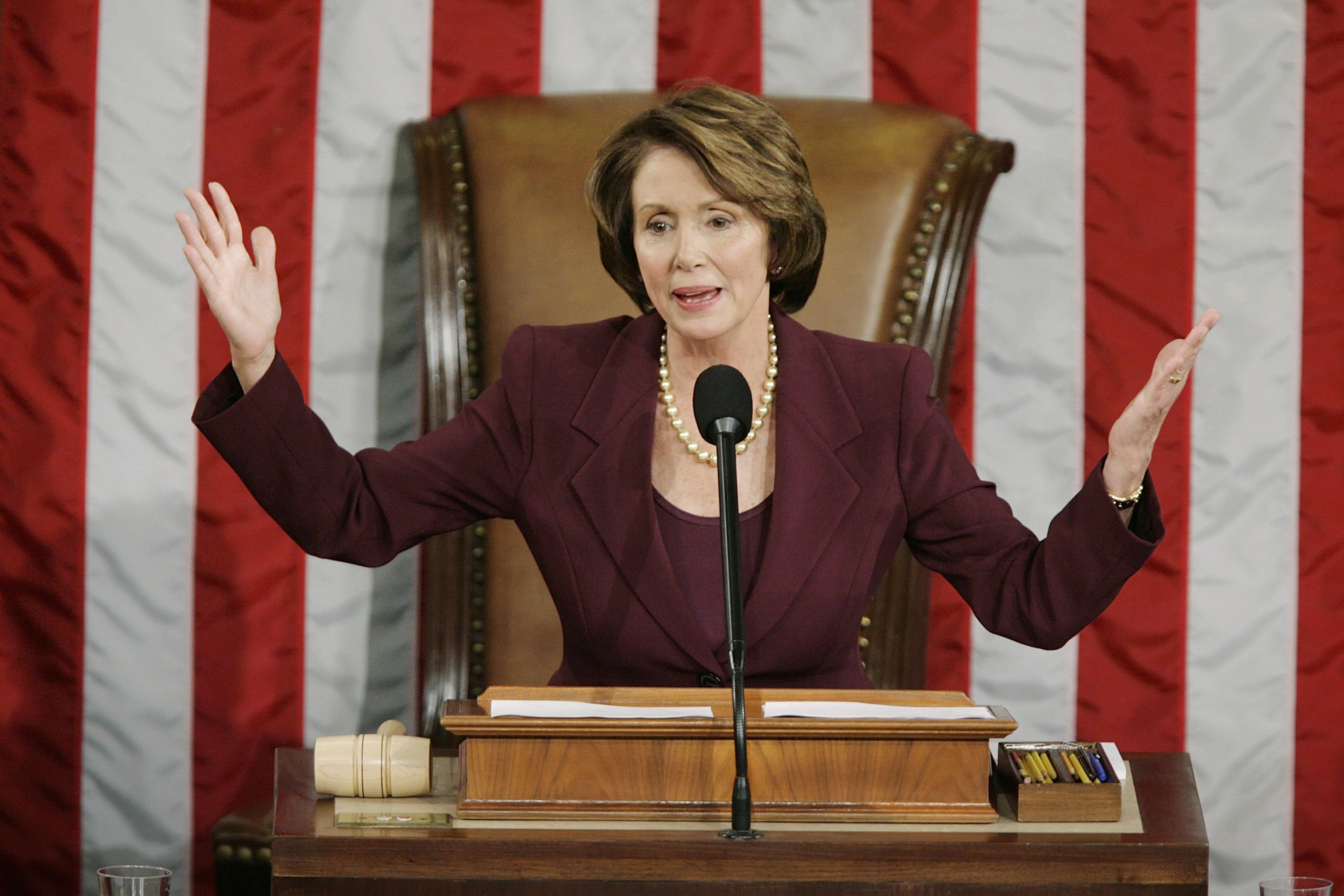 Speaker of the House Nancy Pelosi (D-CA) addresses the House of Representatives after being elected as the first woman Speaker at a swearing in ceremony for the 110th Congress in the House Chamber of the U.S. Capitol January 4, 2007 in Washington, DC. (Photo by Chip Somodevilla/Getty Images)