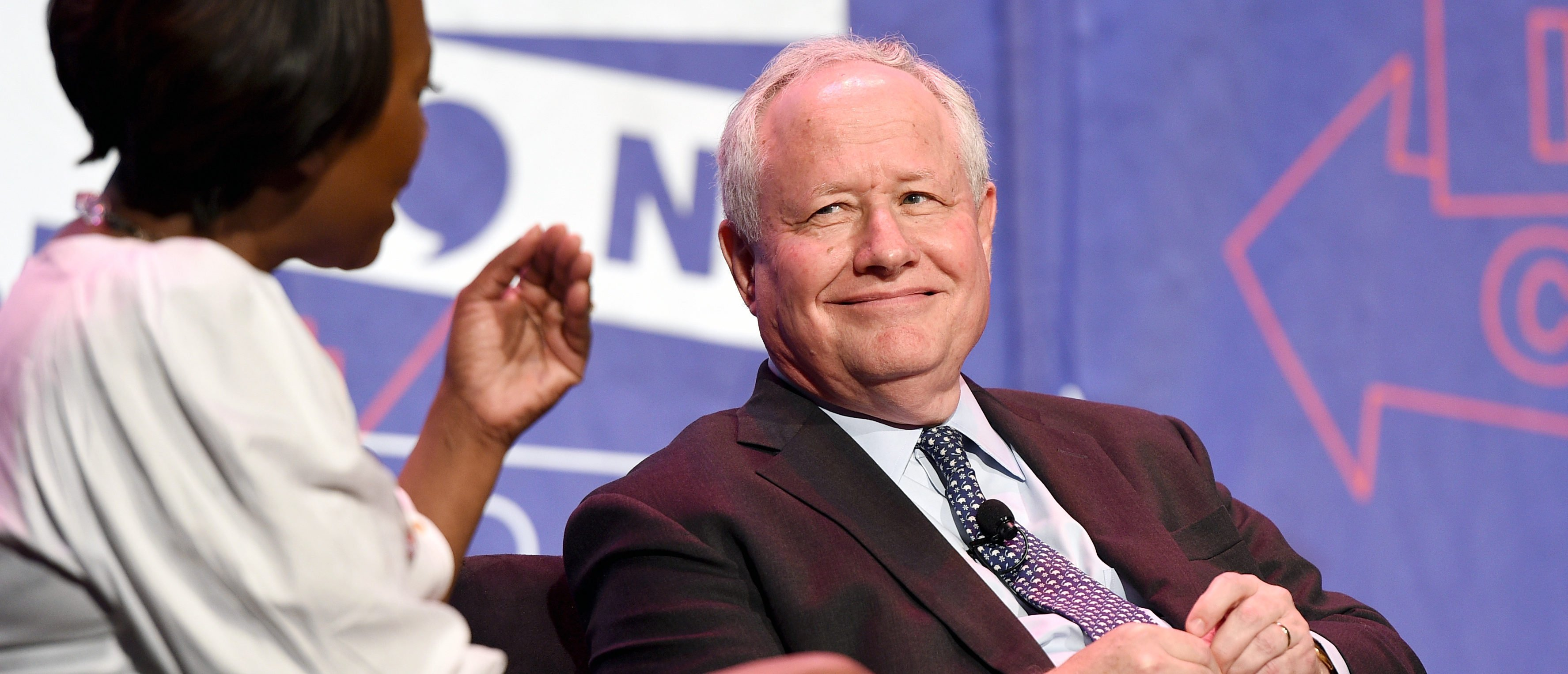 PASADENA, CA - JULY 29: Moderator Joy-Ann Reid (L) and William Kristol at 'LBJ' panel during Politicon at Pasadena Convention Center on July 29, 2017 in Pasadena, California. (Photo by Joshua Blanchard/Getty Images for Politicon)