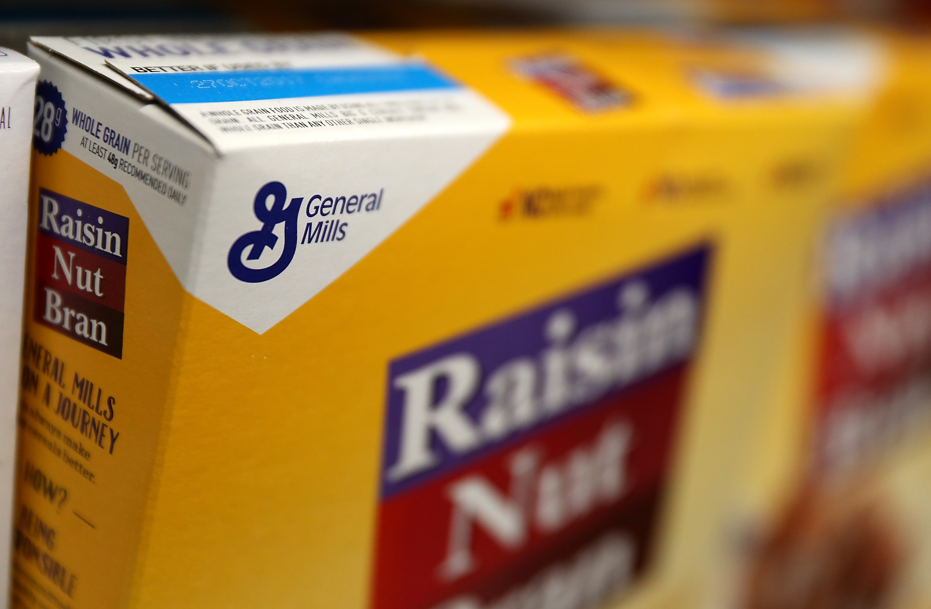 The General Mills logo is displayed on a box of Raisin Nut Bran cereal at Scotty's Market on September 20, 2017 in San Rafael, California. (Photo by Justin Sullivan/Getty Images)